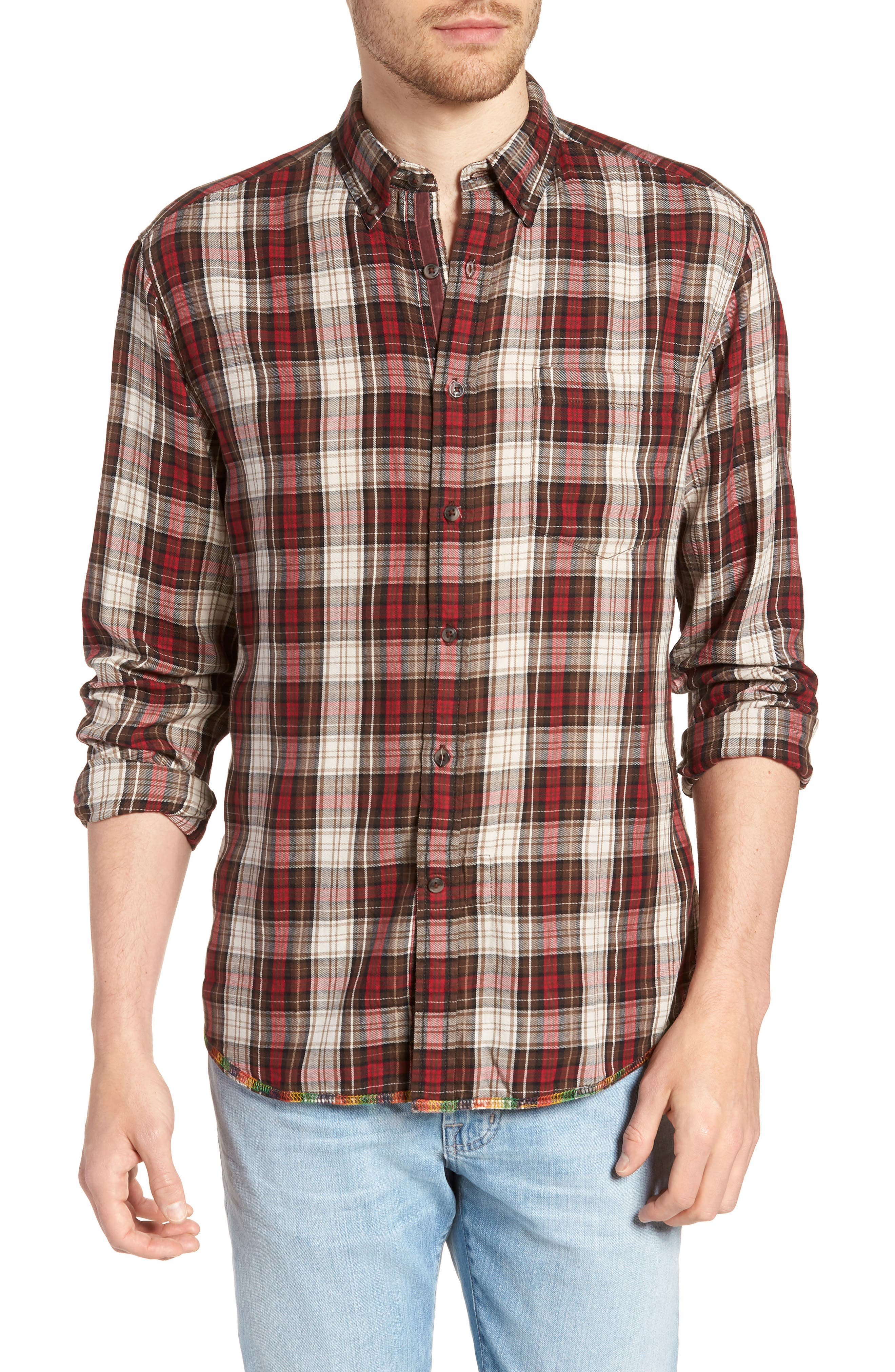 Featherweight Twill Sport Shirt,                         Main,                         color, BROWN