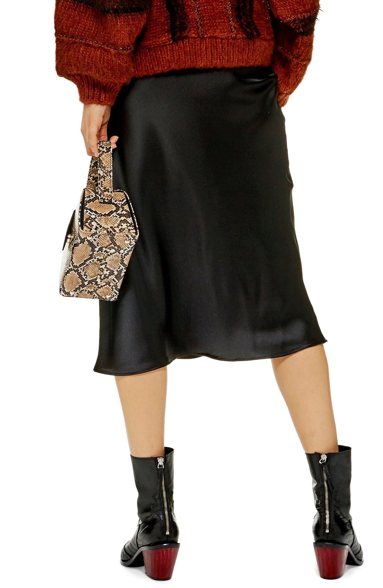 Satin Midi Skirt,                             Alternate thumbnail 2, color,                             BLACK