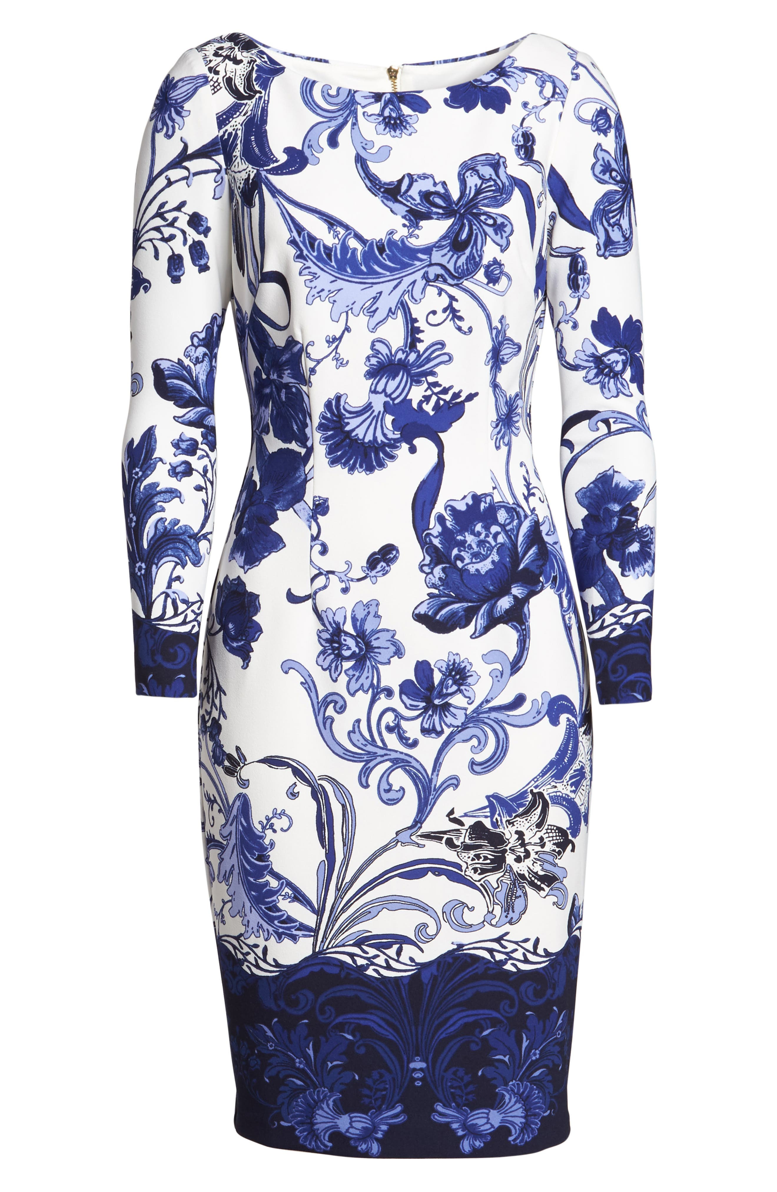 Print Long Sleeve Sheath Dress,                             Alternate thumbnail 6, color,                             421