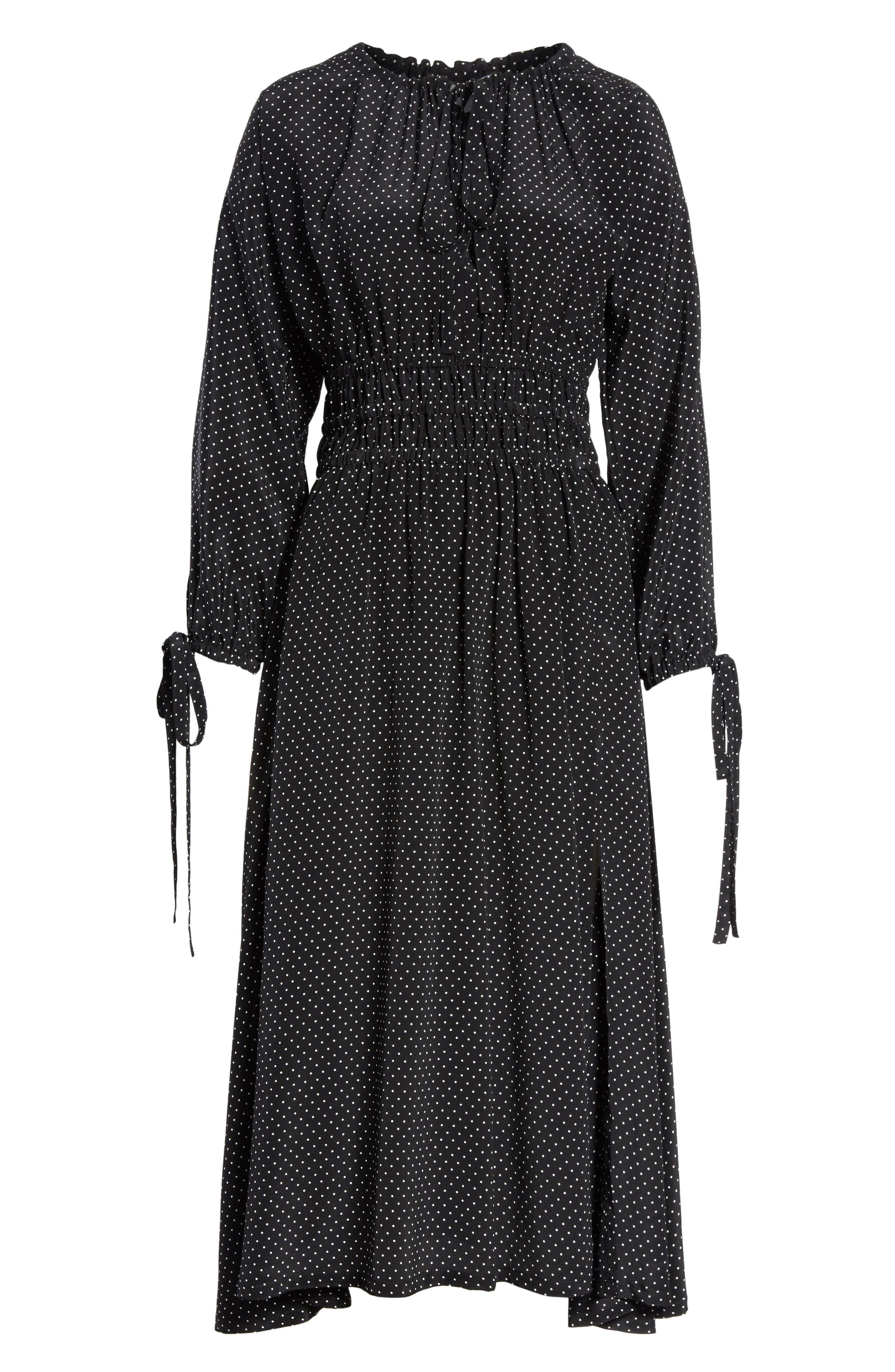 Polka Dot Silk Cold Shoulder Dress,                             Alternate thumbnail 6, color,                             001