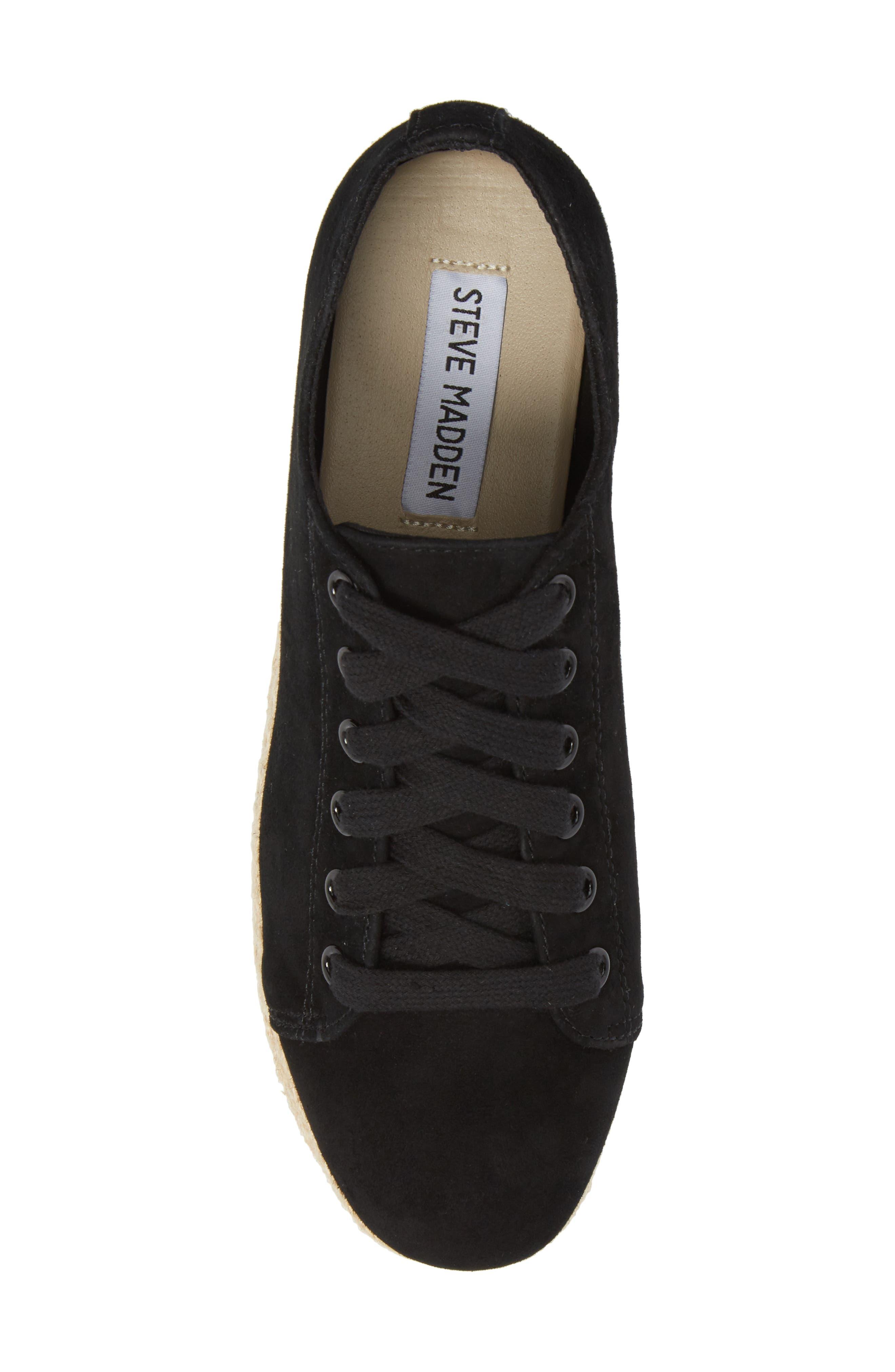 Karma Espadrille Platform Sneaker,                             Alternate thumbnail 5, color,                             BLACK SUED