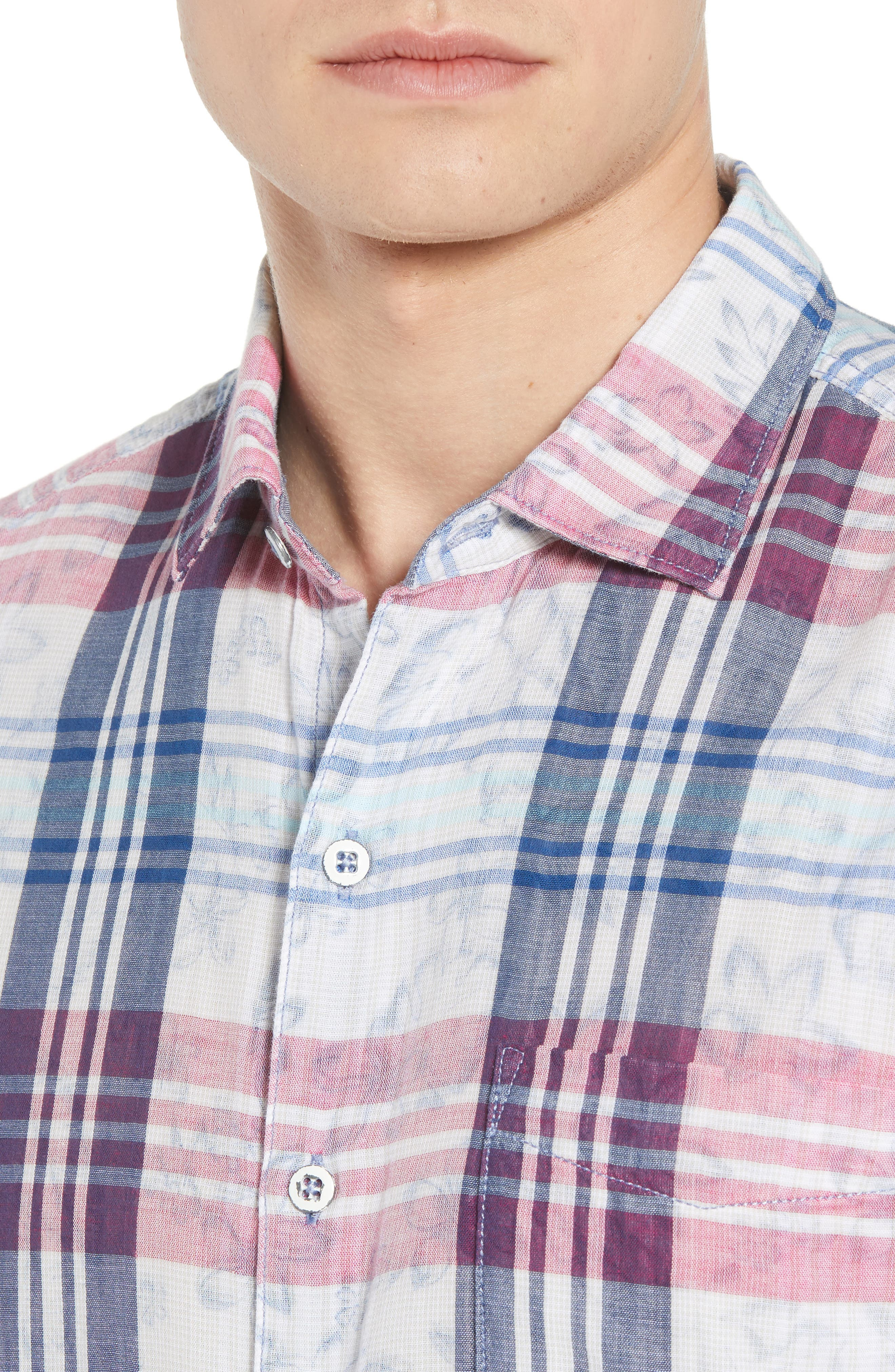 Zuma Plaid Sport Shirt,                             Alternate thumbnail 4, color,                             OCEAN DEEP