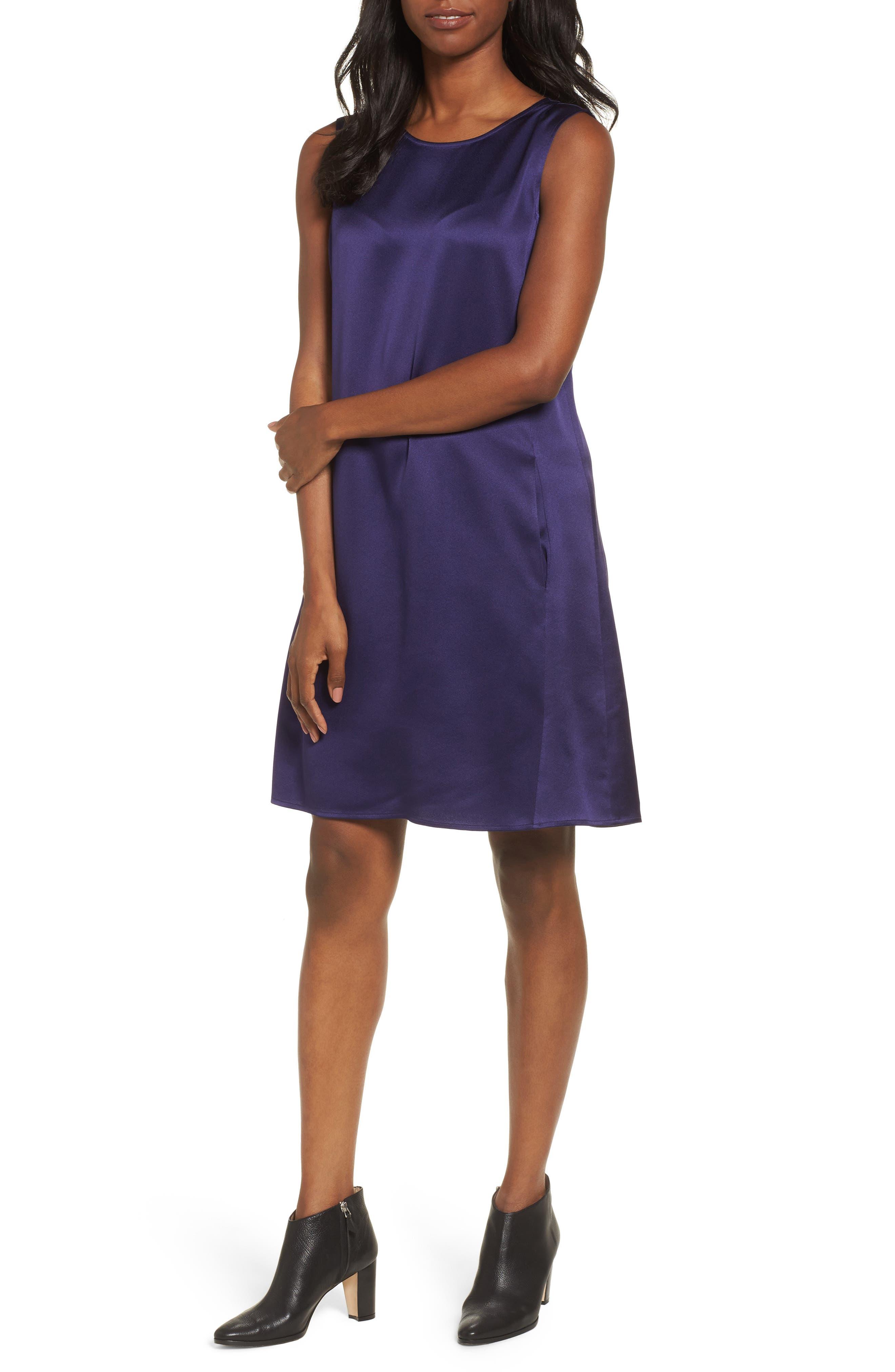 Silk Shift Dress,                             Main thumbnail 2, color,