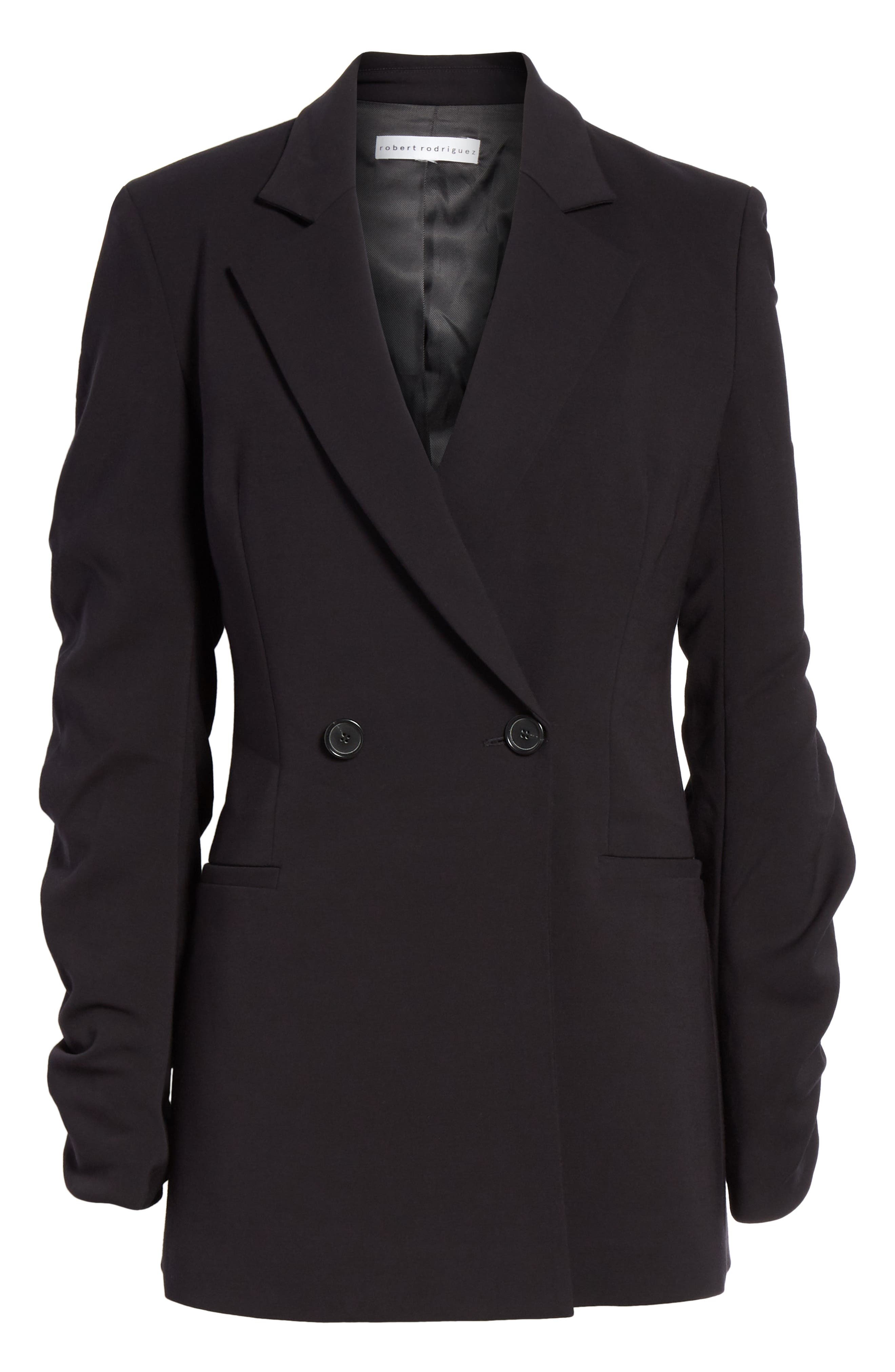 Ruched Sleeve Blazer,                             Alternate thumbnail 6, color,                             001