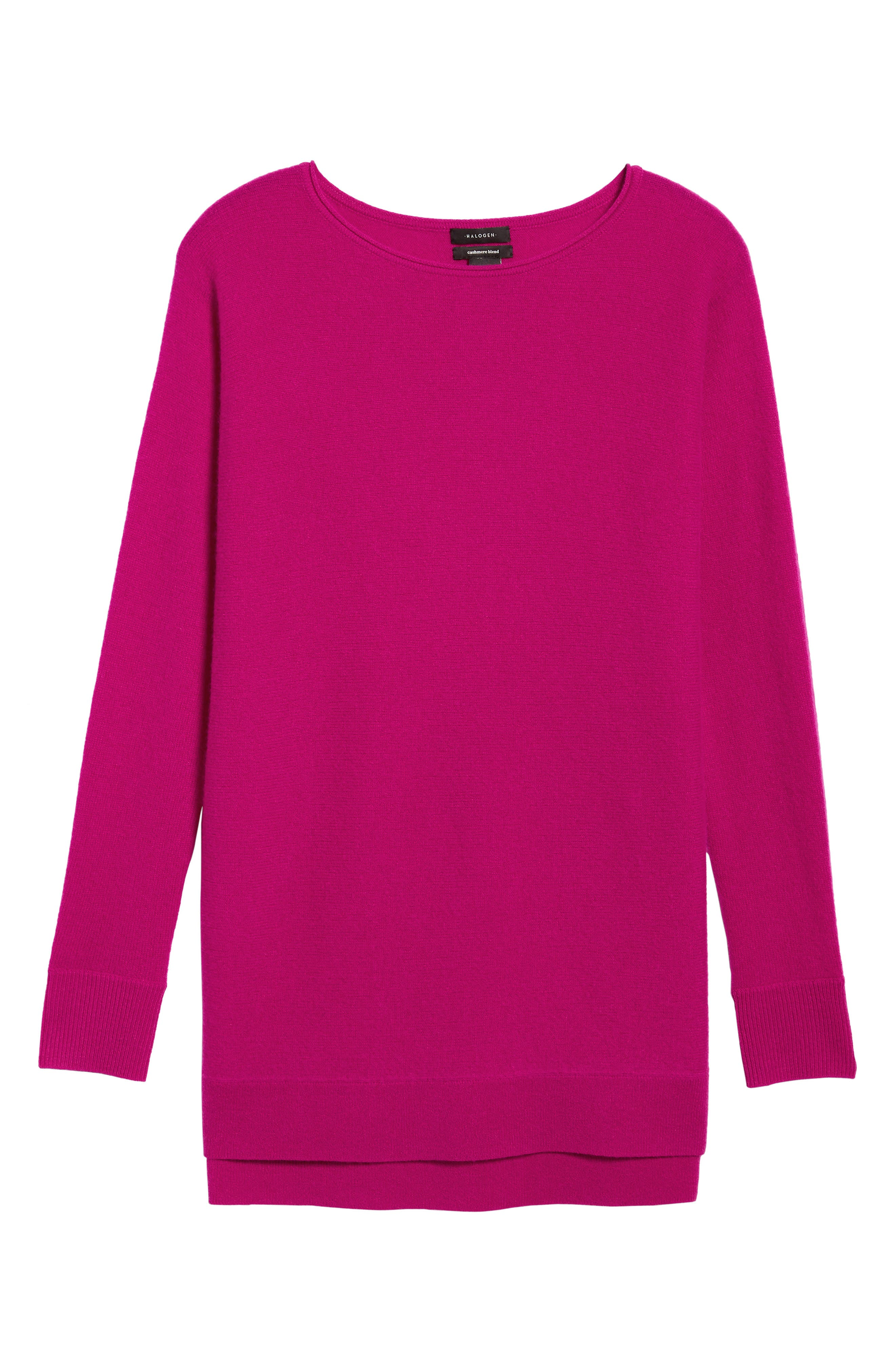 High/Low Wool & Cashmere Tunic Sweater,                             Alternate thumbnail 100, color,