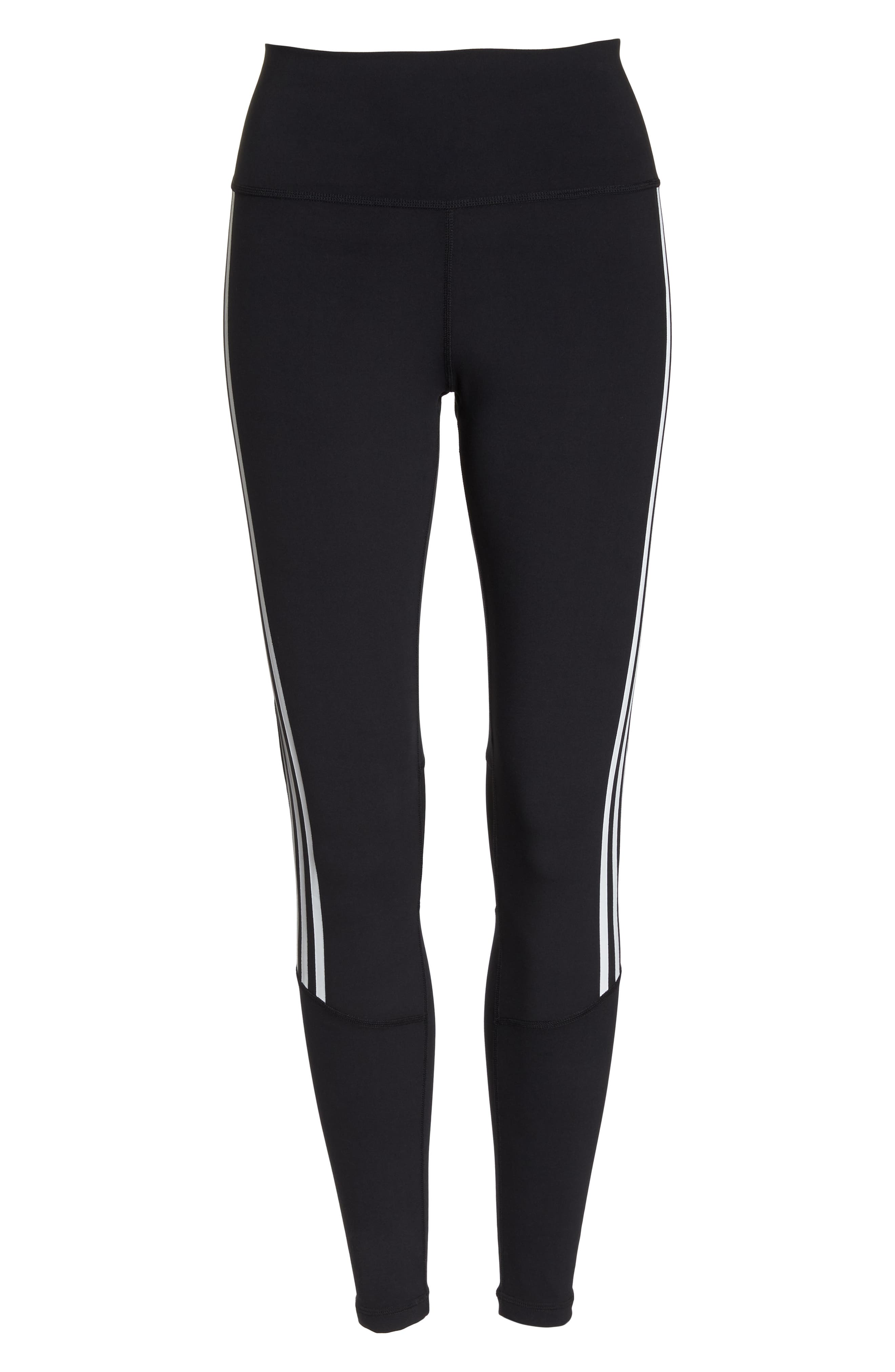 Believe This 3-Stripes High Waist Ankle Leggings,                             Alternate thumbnail 7, color,                             BLACK/ WHITE