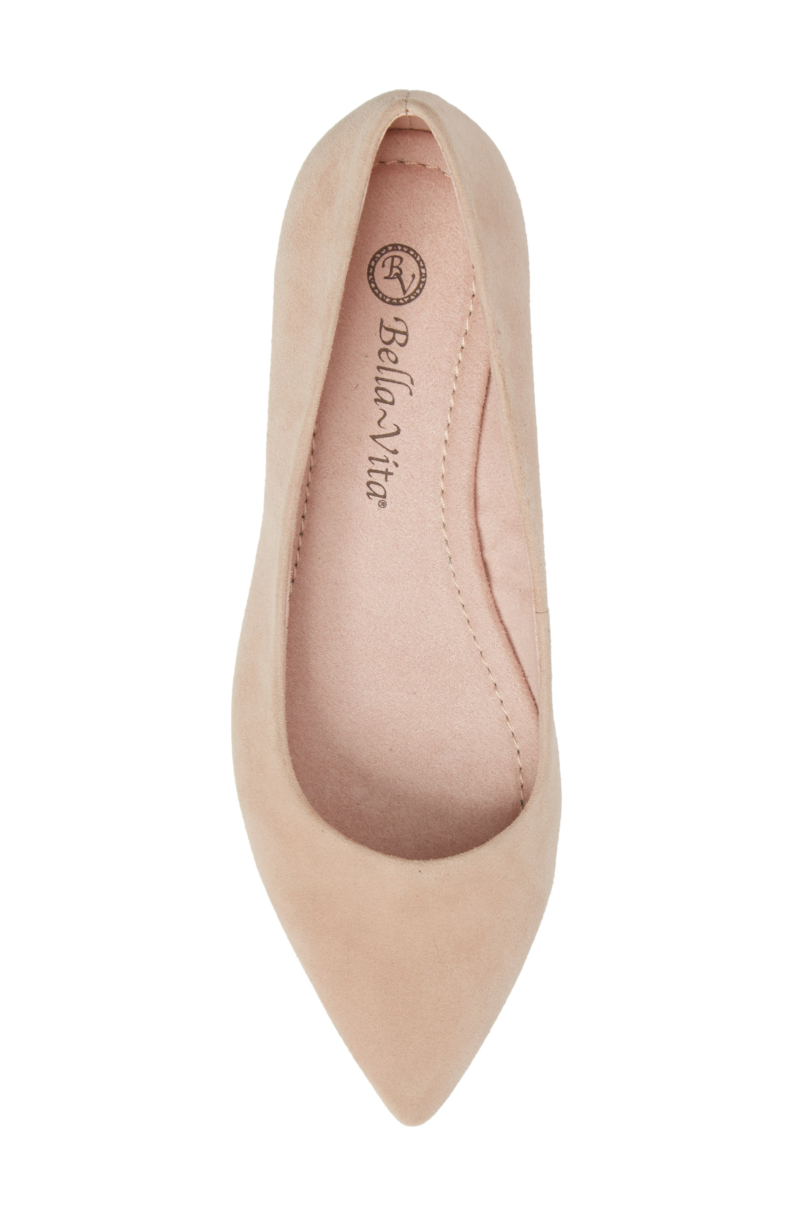 'Vivien' Pointy Toe Flat,                             Alternate thumbnail 5, color,                             BLUSH SUEDE