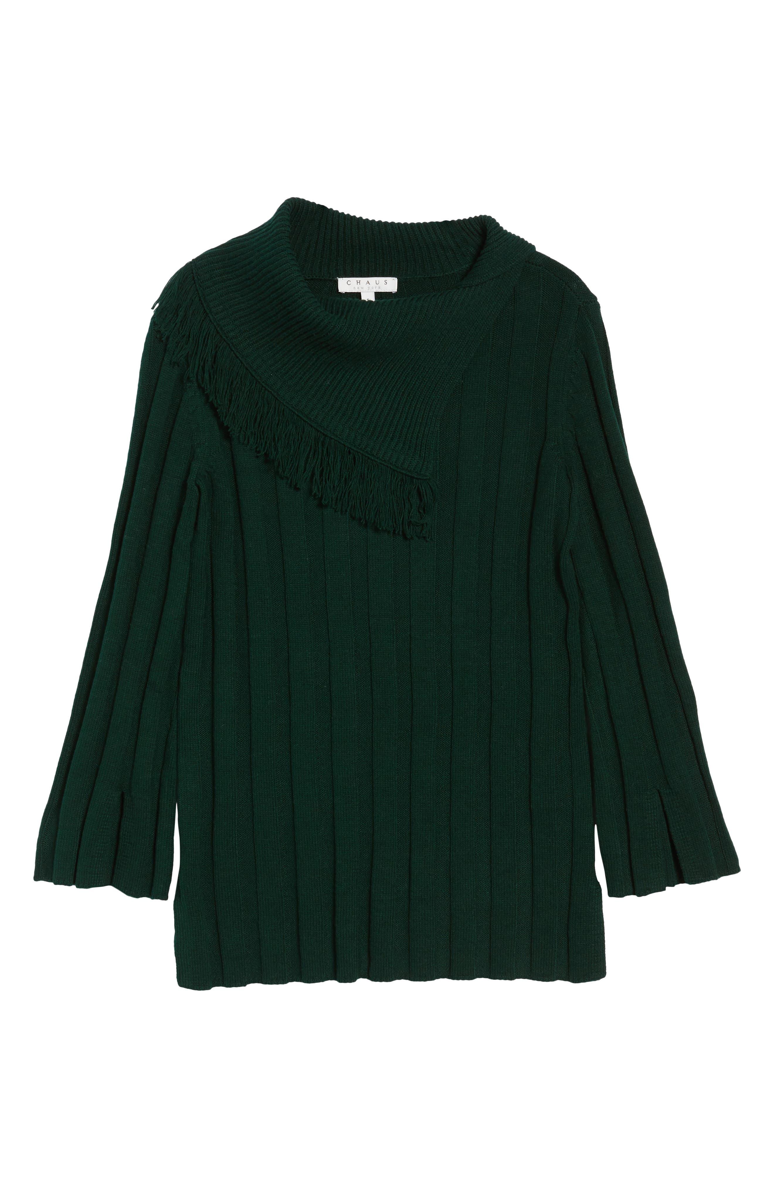 Fringe Cowl Neck Sweater,                             Alternate thumbnail 18, color,