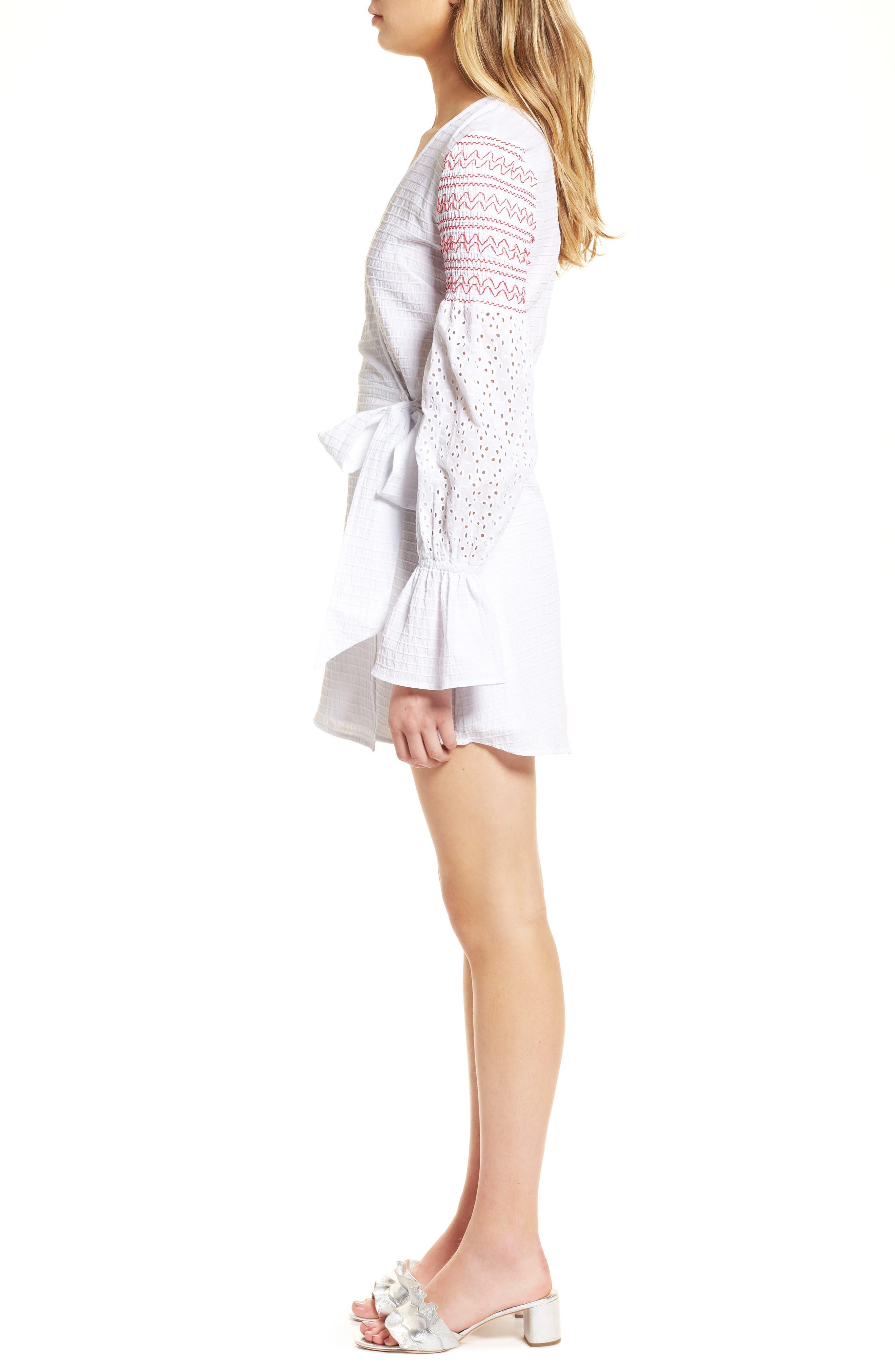 Riverine Smocked Wrap Dress,                             Alternate thumbnail 3, color,