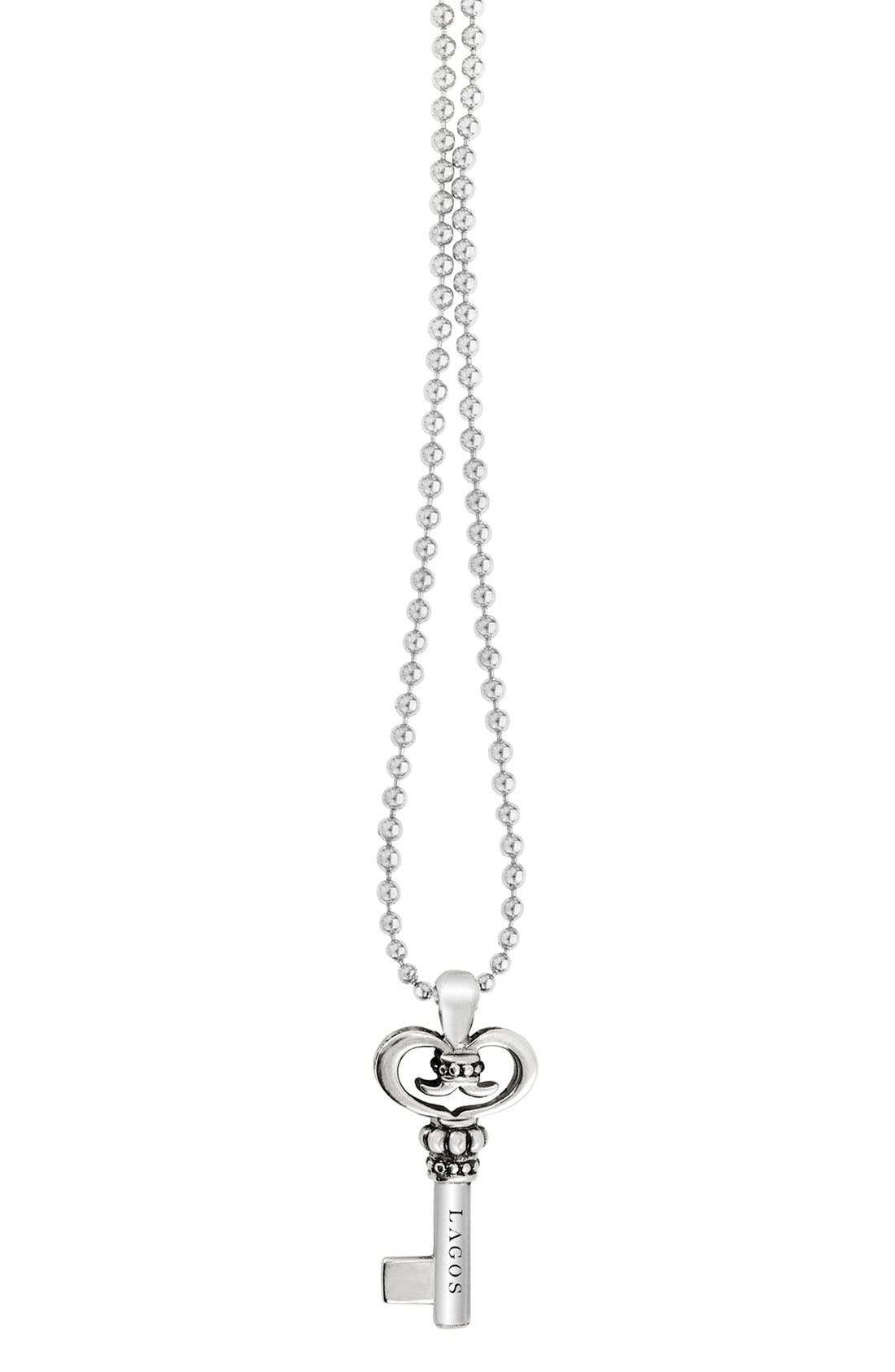 Sterling Silver Key Long Strand Pendant Necklace,                             Alternate thumbnail 6, color,                             KEY