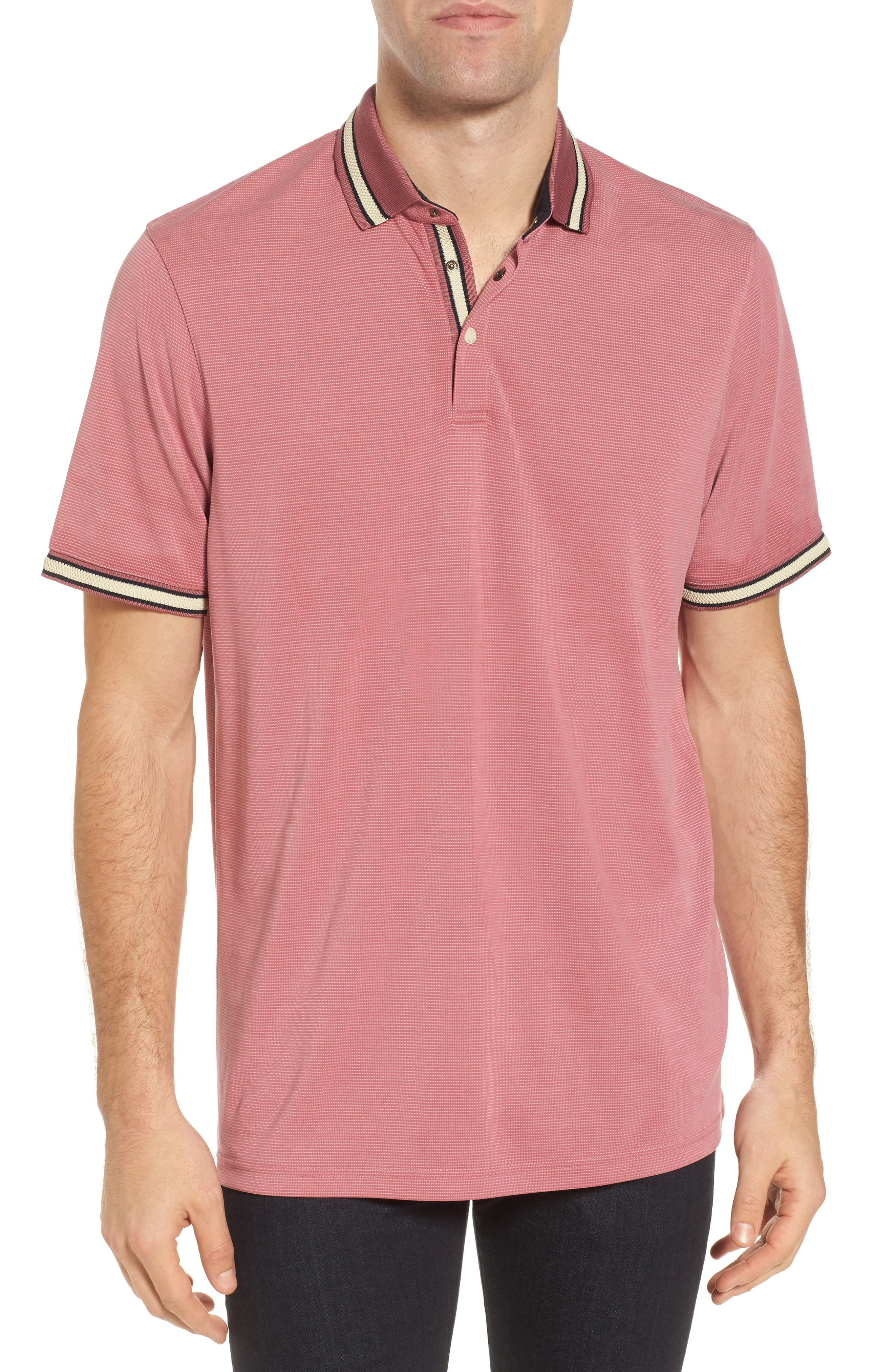 Chumm Trim Fit Birdseye Polo,                         Main,                         color, PINK