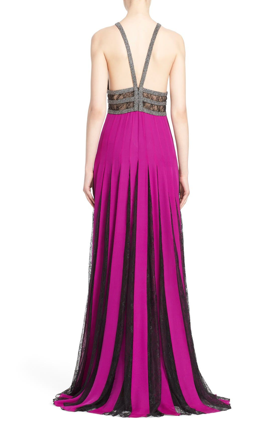 Couture Silk Halter Gown with Lace Pleats,                             Alternate thumbnail 2, color,