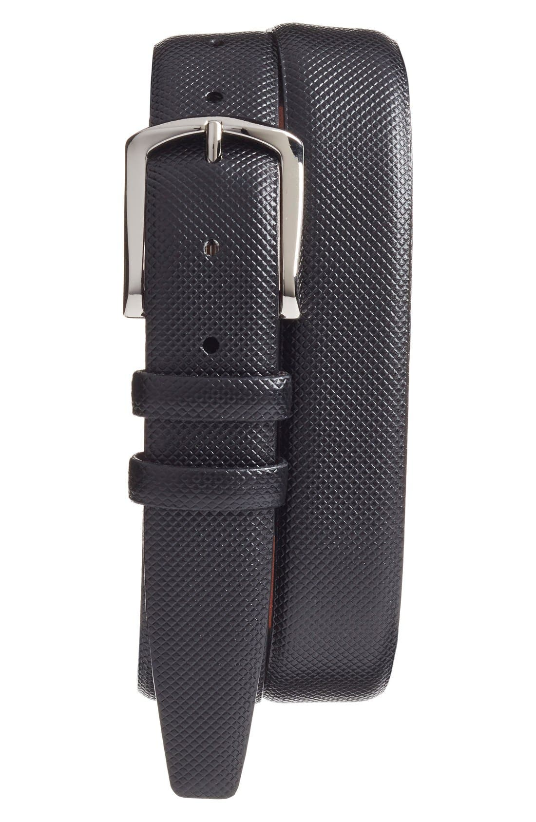 Bulgaro Calfskin Leather Belt,                             Main thumbnail 1, color,                             BLACK