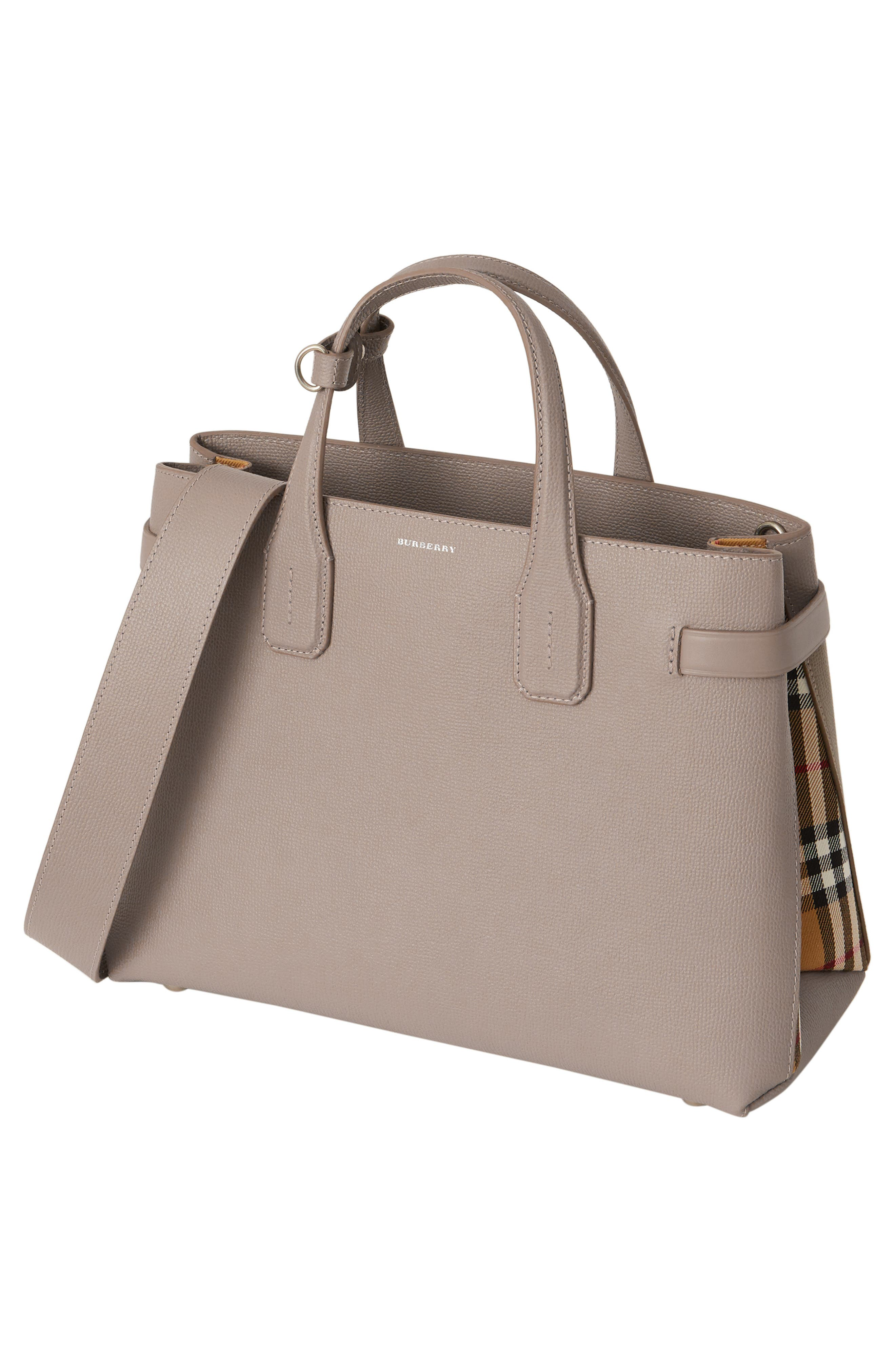 Medium Banner Leather Tote,                             Alternate thumbnail 8, color,                             TAUPE BROWN