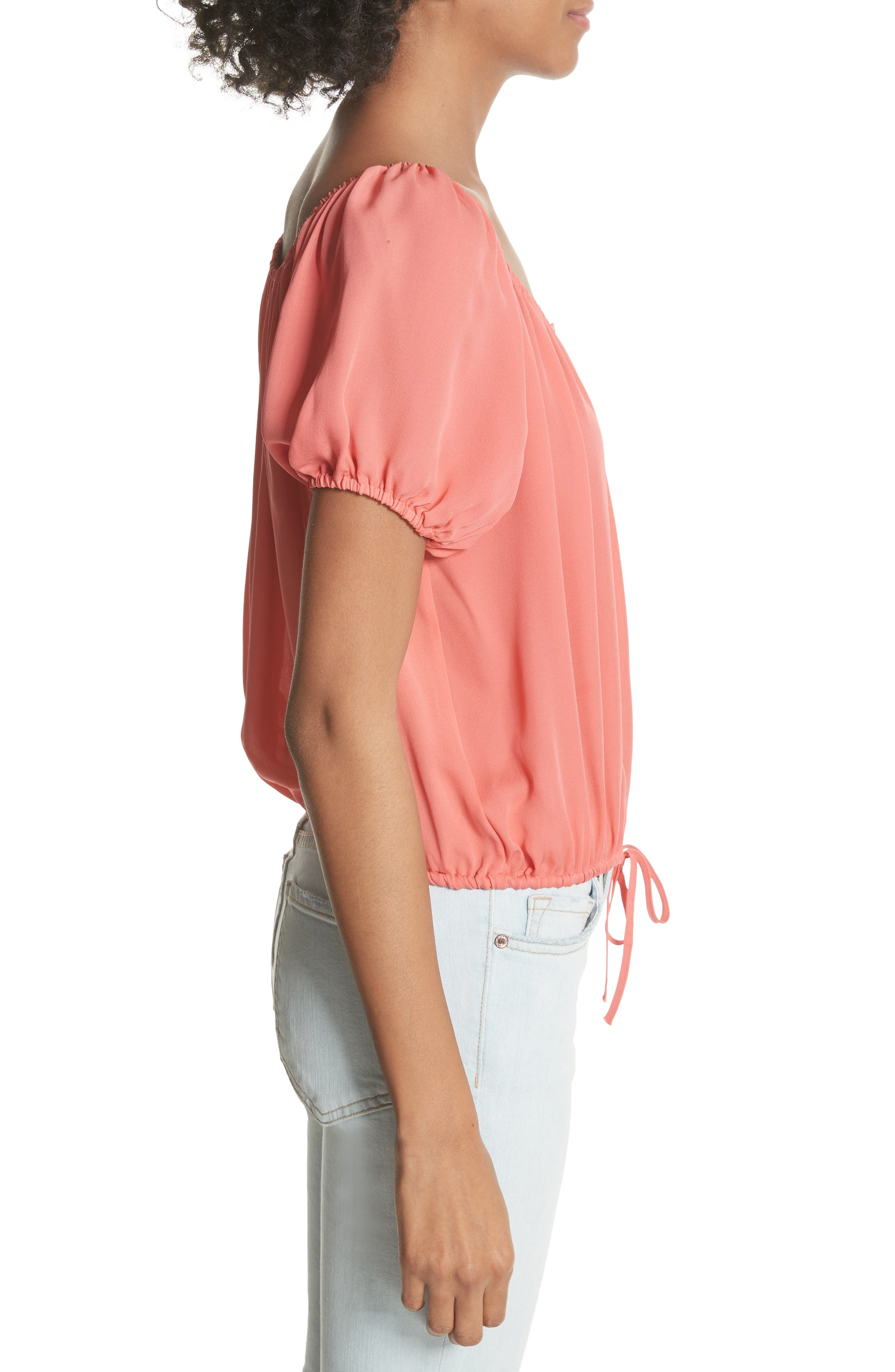 Blesina Tie Front Short Sleeve Silk Blouse,                             Alternate thumbnail 6, color,
