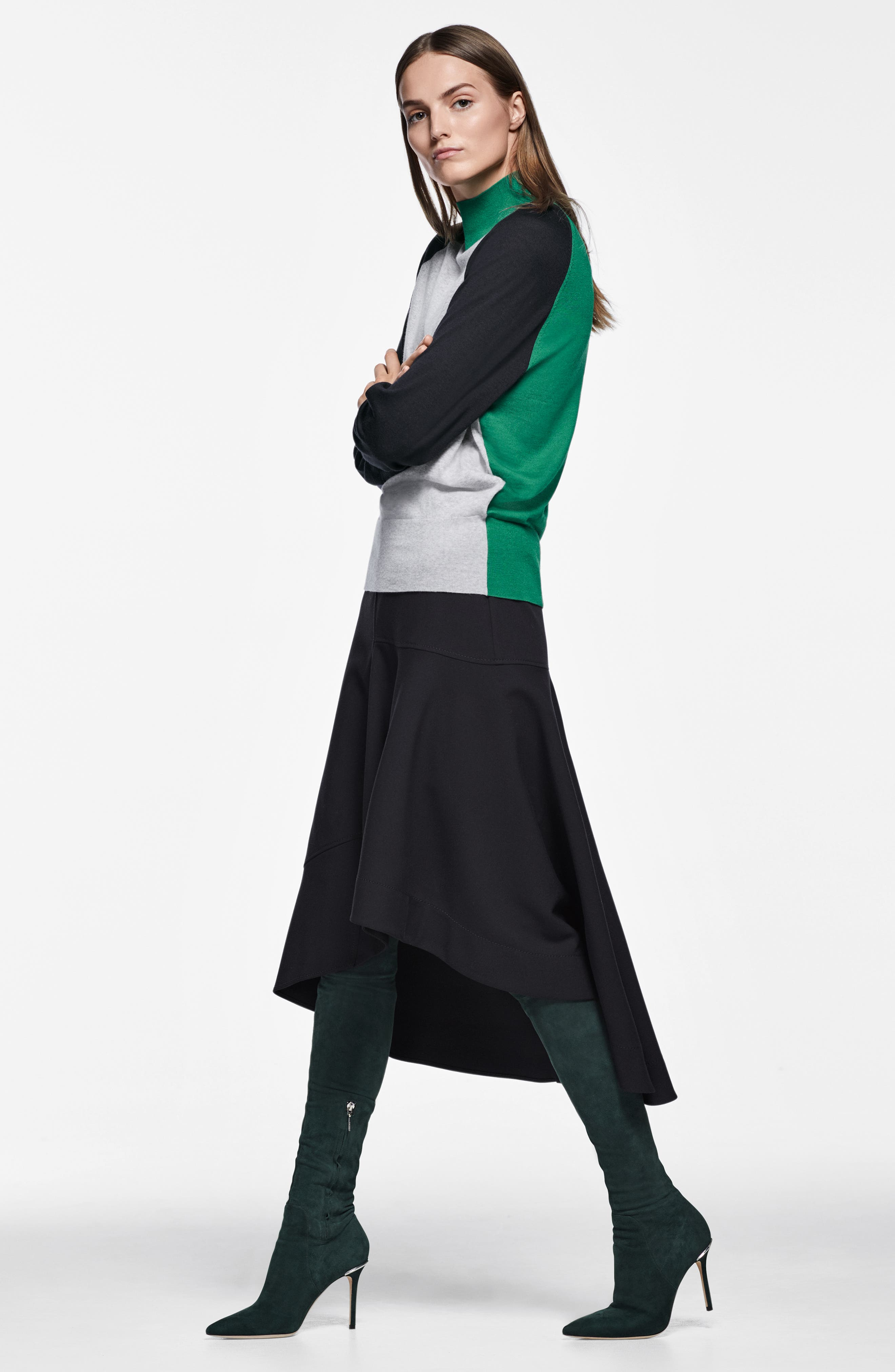 Melepia Asymmetrical Faux Wrap Skirt,                             Alternate thumbnail 11, color,                             NAVY