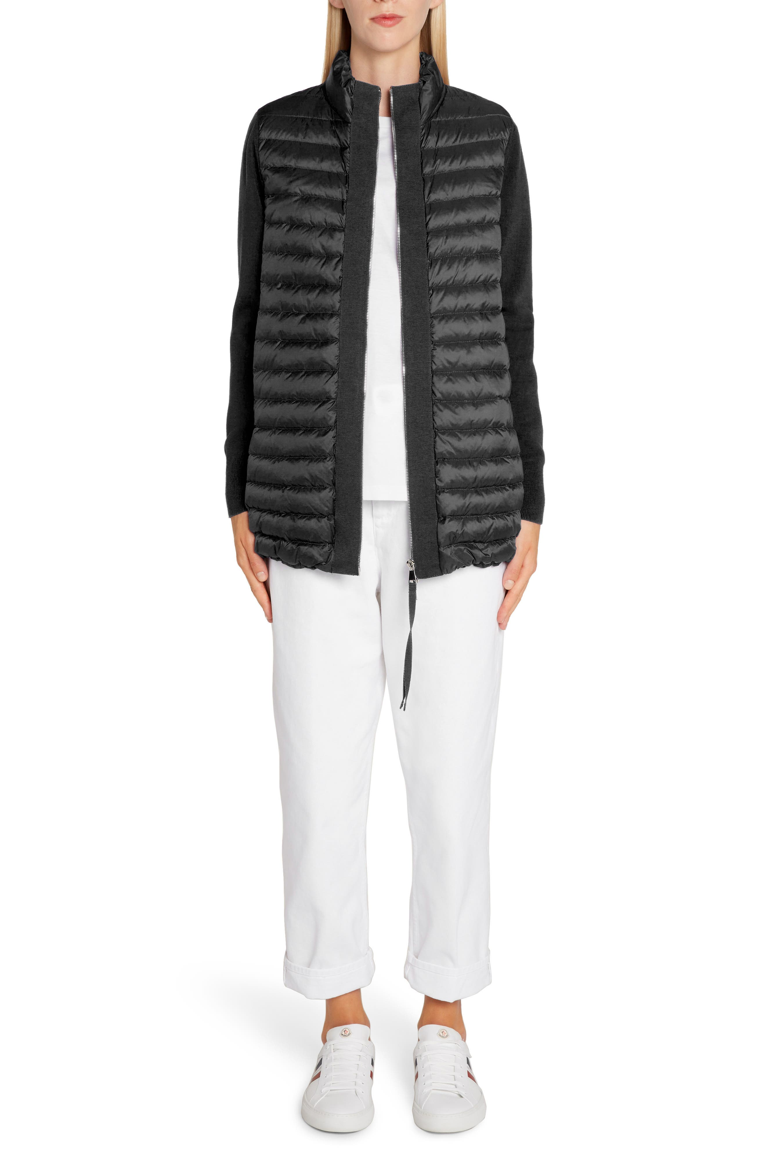 Quilted Down & Knit Cardigan,                             Alternate thumbnail 6, color,                             BLACK