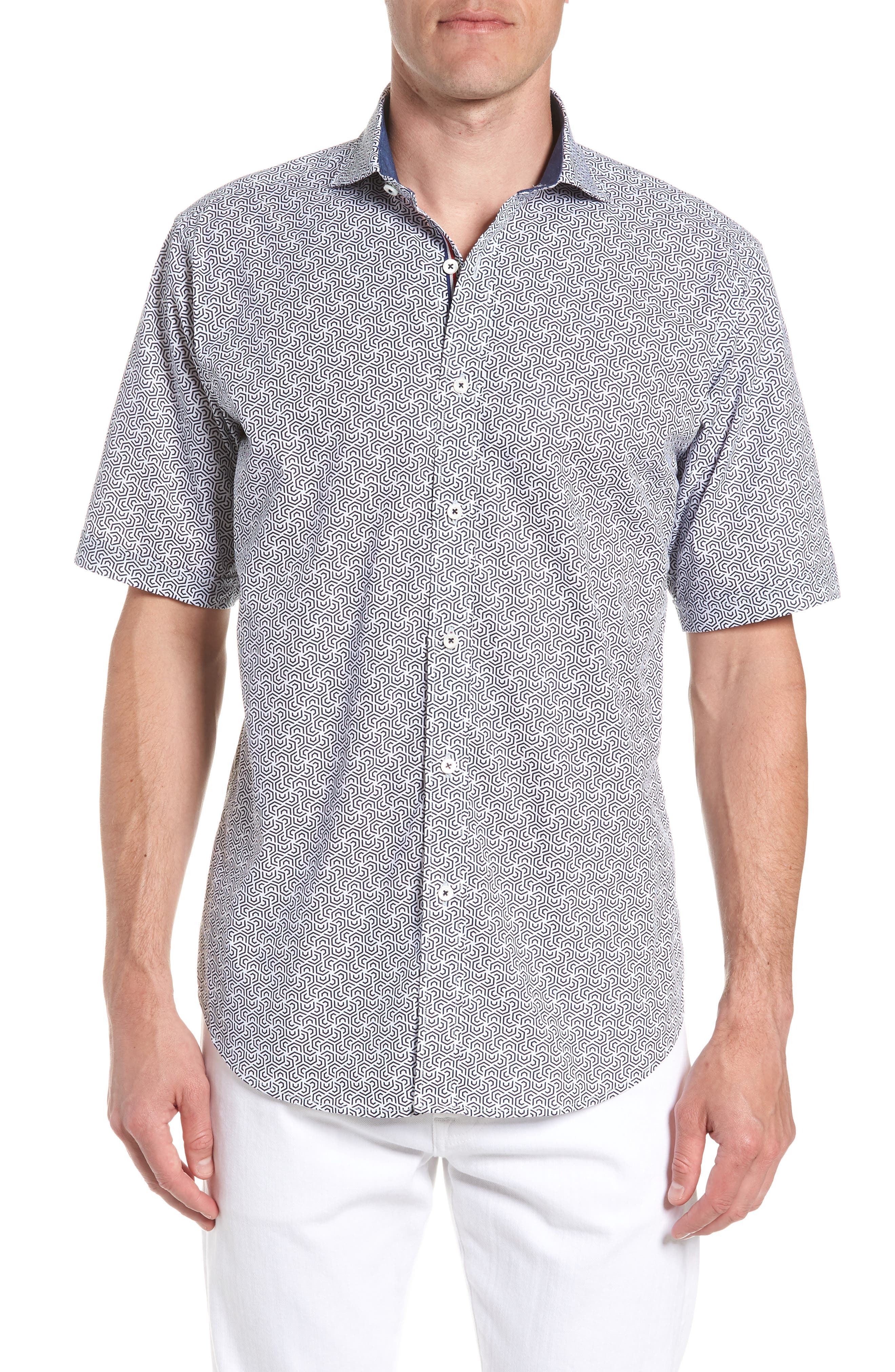 Classic Fit Maze Print Sport Shirt,                         Main,                         color, NAVY