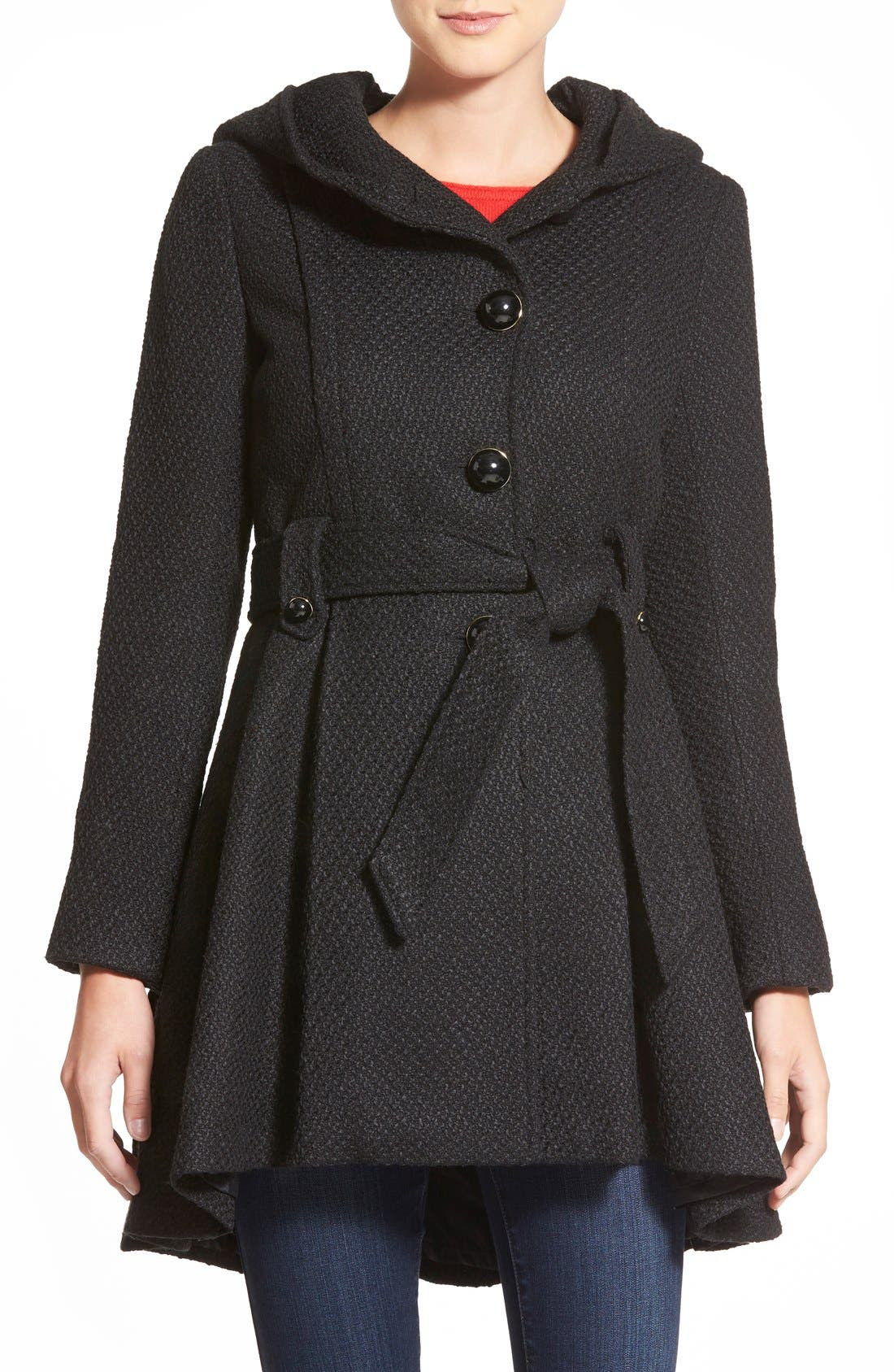 Belted Hooded Skirted Coat,                             Main thumbnail 2, color,