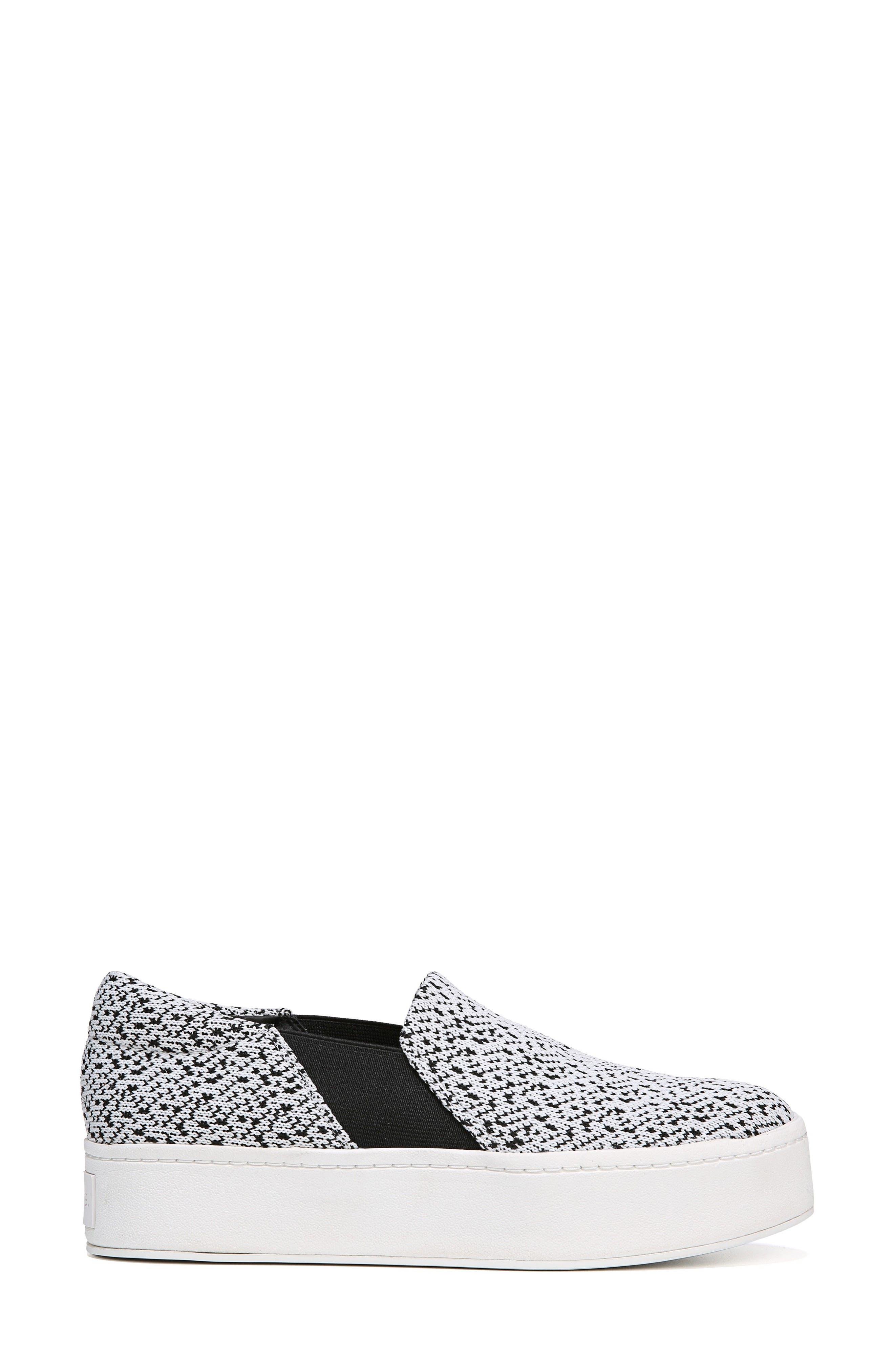 Warren Slip-On Sneaker,                             Alternate thumbnail 3, color,                             WHITE/ BLACK