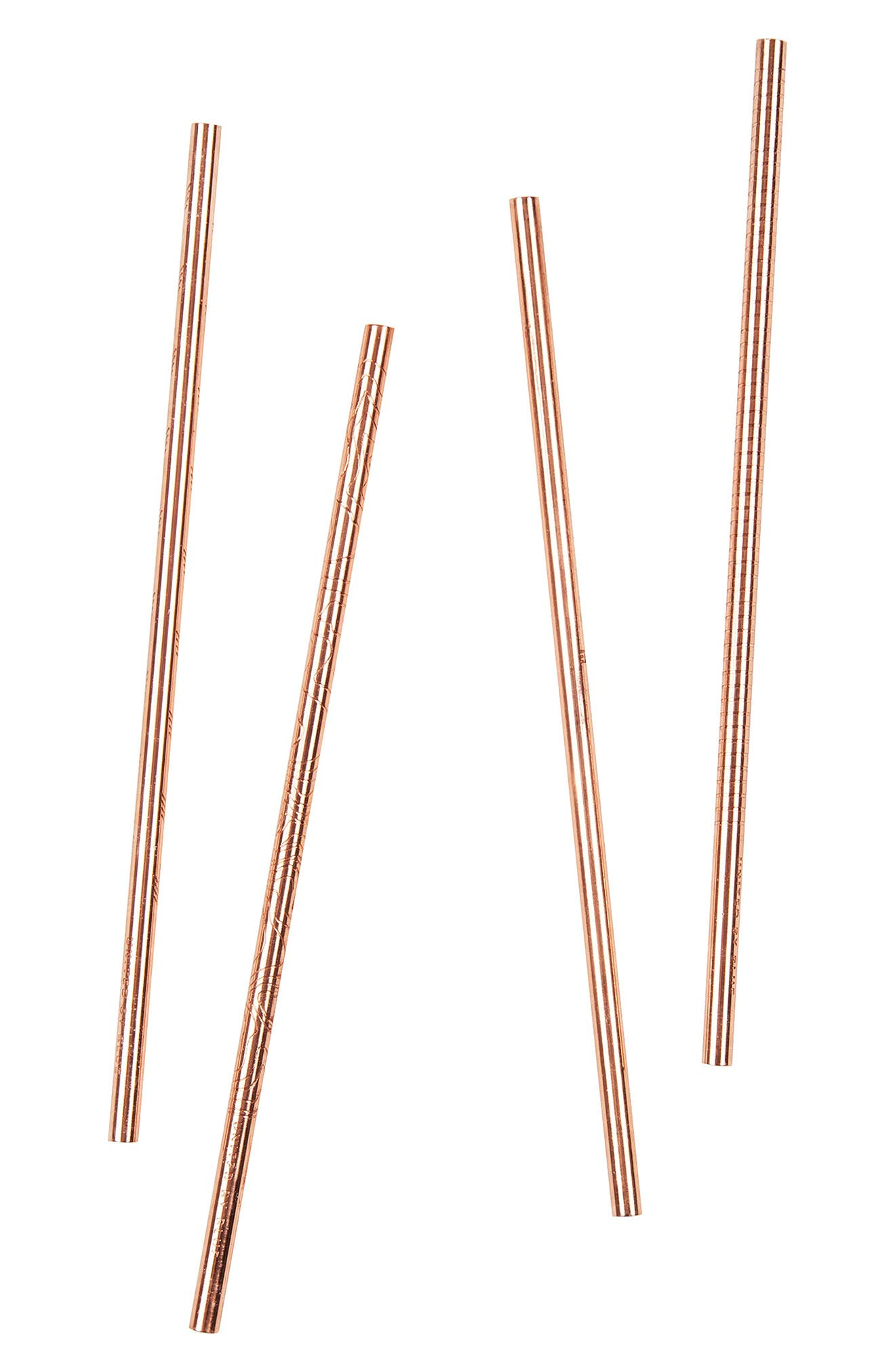 Set of 4 Copper Straws,                             Alternate thumbnail 3, color,                             220