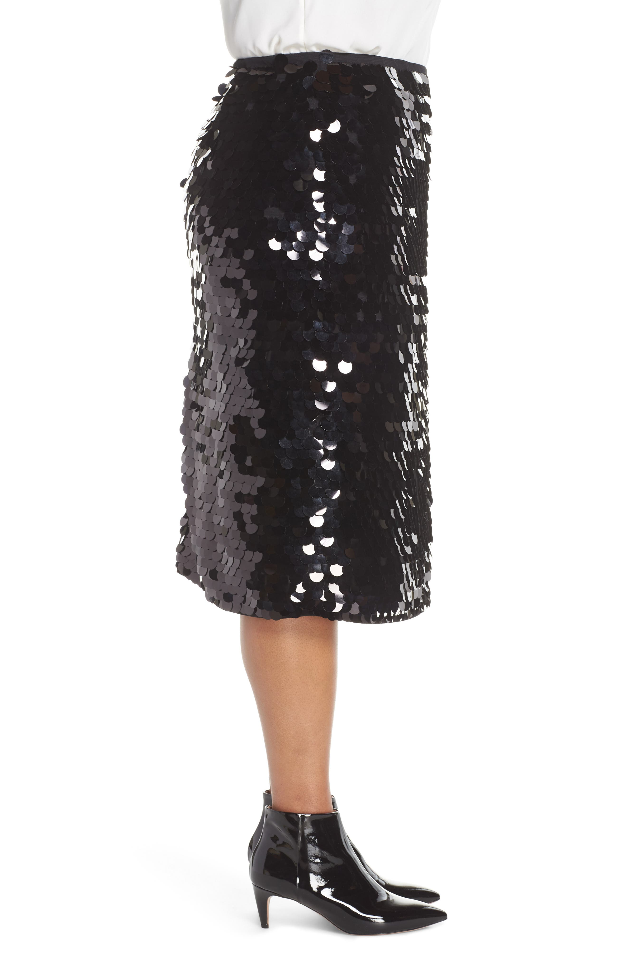 Paillette Pencil Skirt,                             Alternate thumbnail 3, color,                             BLACK