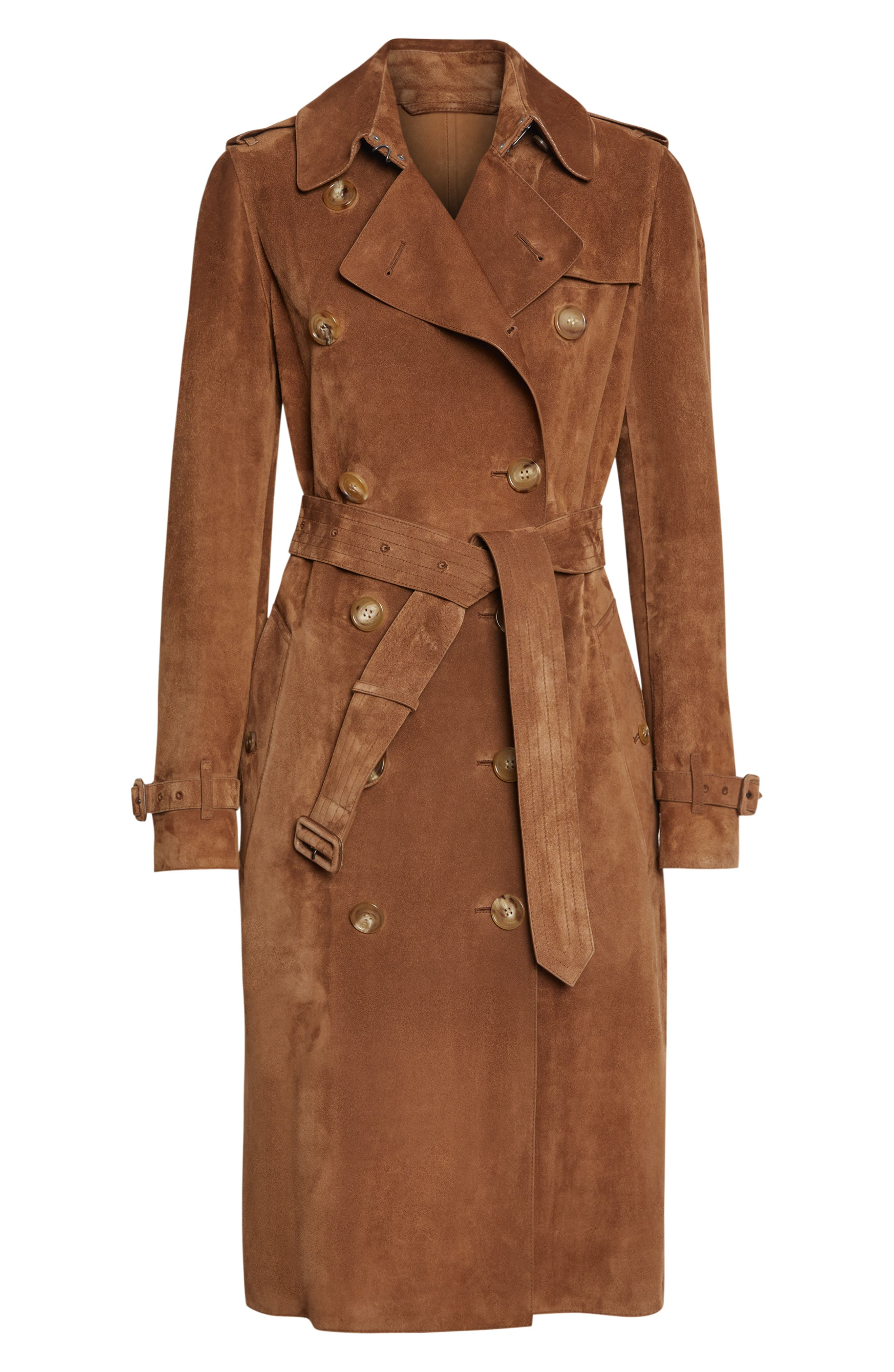 BURBERRY,                             Haddington Suede Trench Coat,                             Alternate thumbnail 5, color,                             SEPIA BROWN