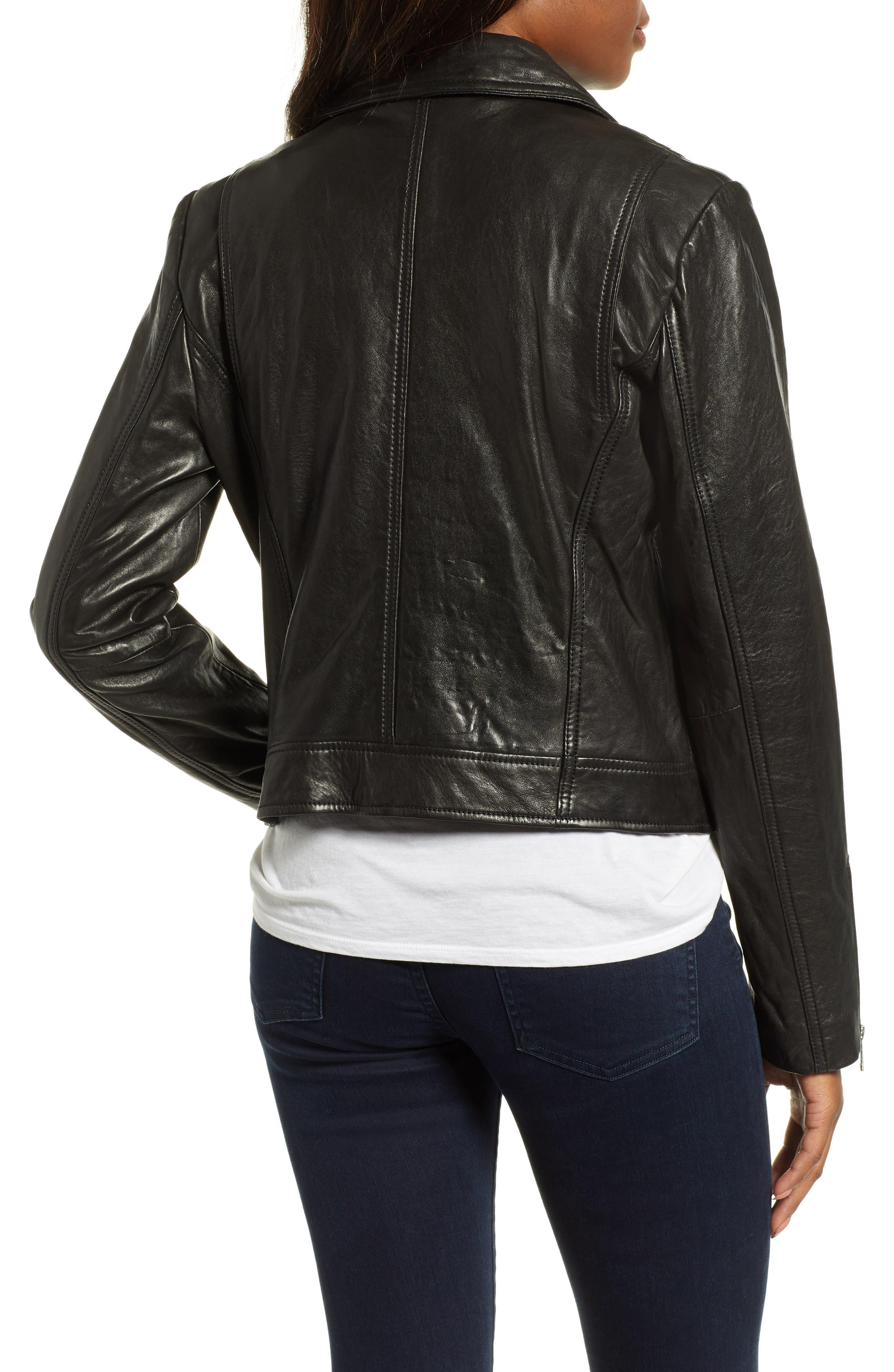 Washed Nappa Leather Moto Jacket,                             Alternate thumbnail 2, color,                             BLACK