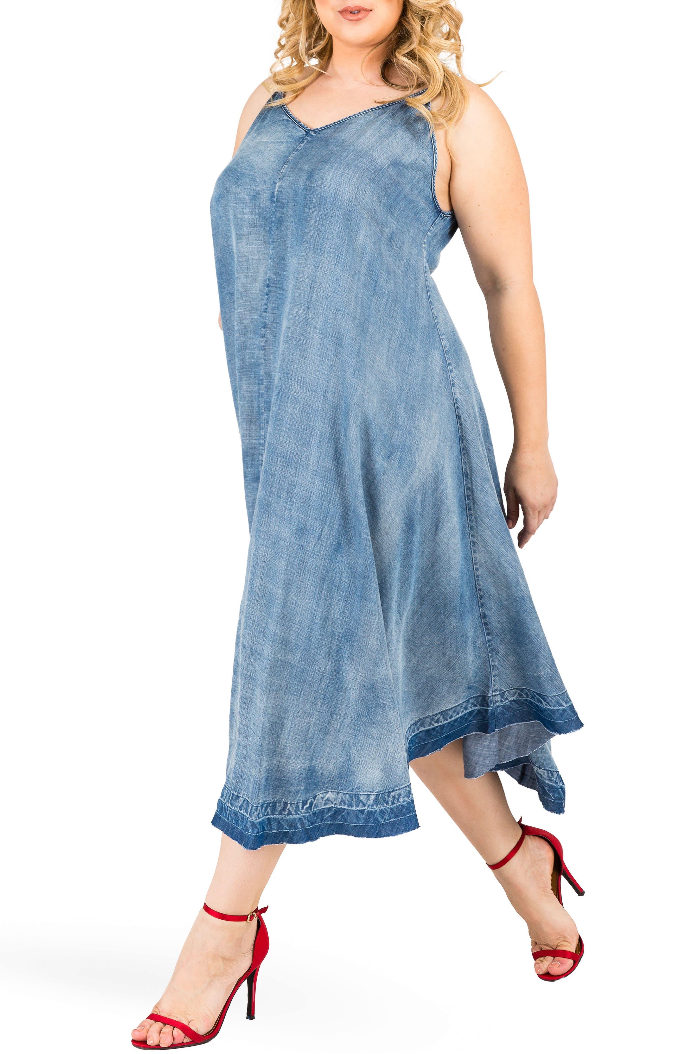 Taylor Tank Denim Midi Dress,                             Alternate thumbnail 4, color,                             MEDIUM BLUE