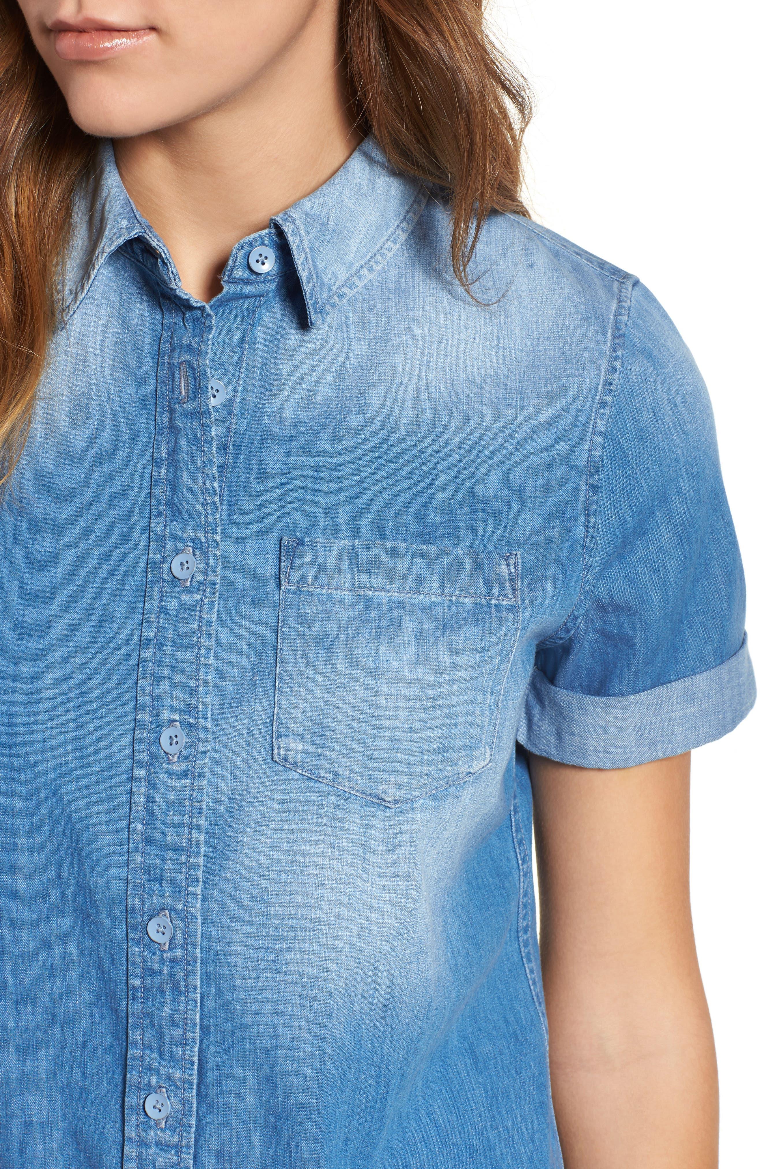Easton Denim Shirt,                             Alternate thumbnail 4, color,                             TURBULENCE