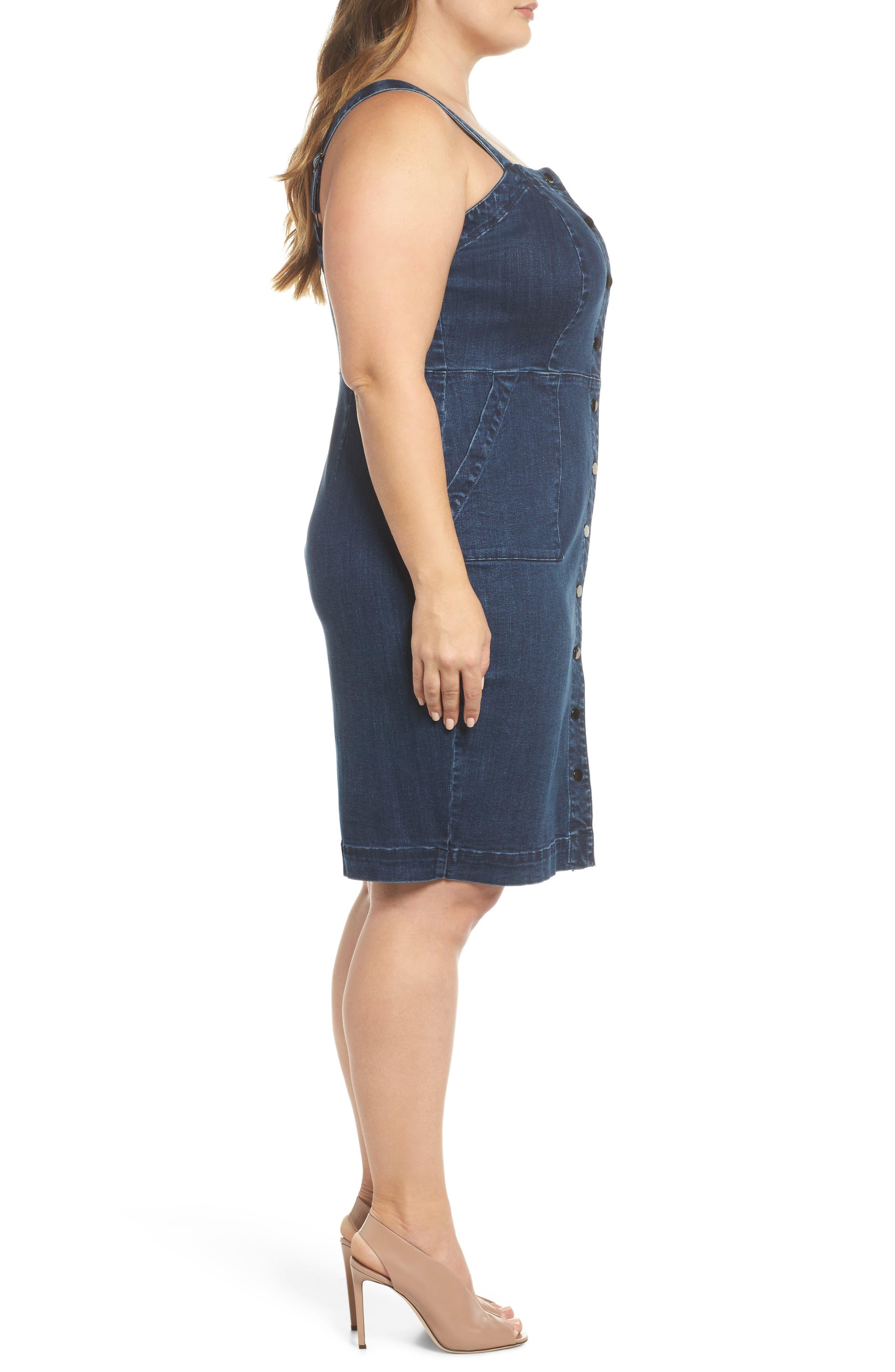 Denim Body-Con Dress,                             Alternate thumbnail 3, color,                             401