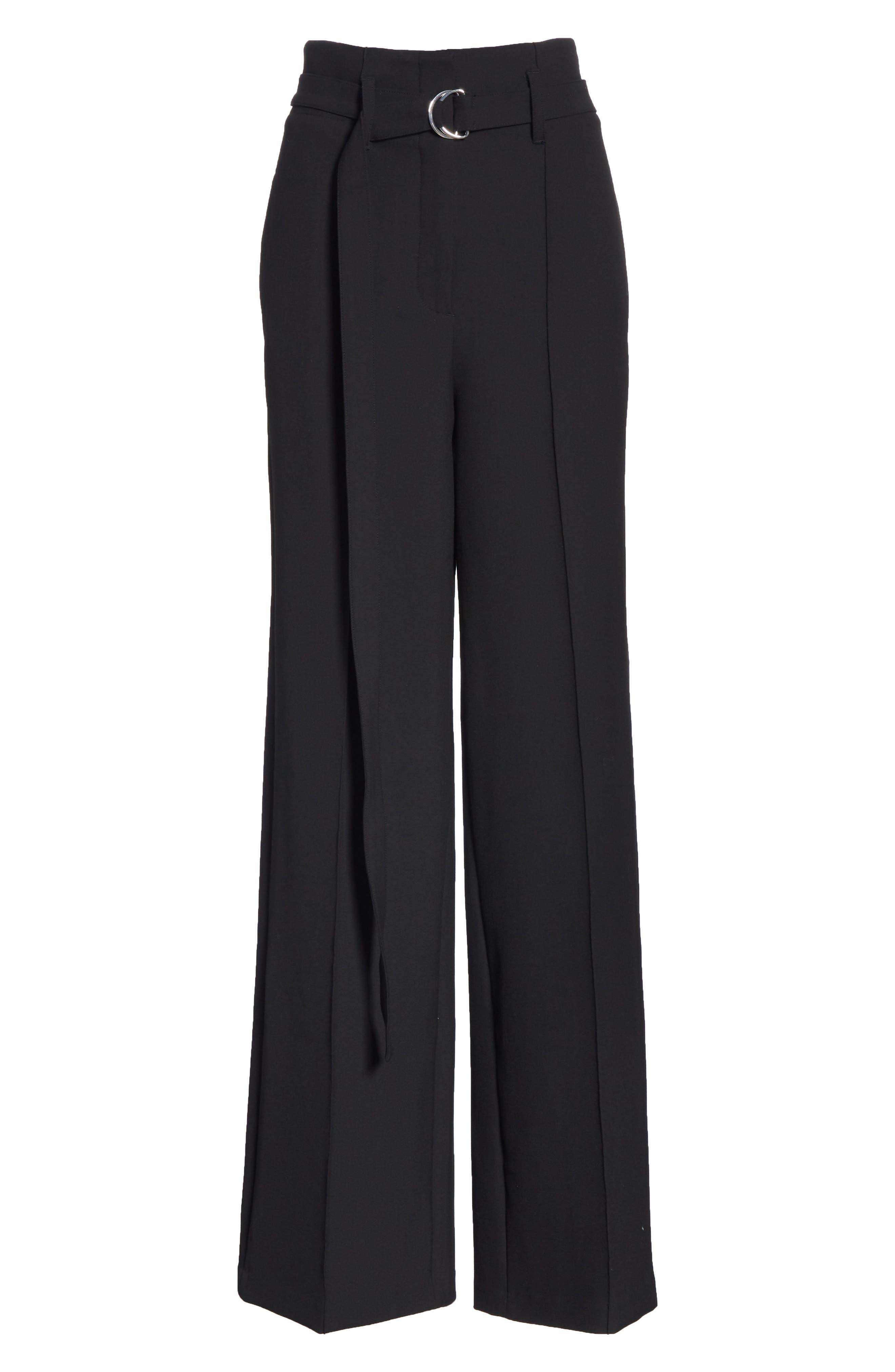 Belted Wide Leg Pants,                             Alternate thumbnail 6, color,                             BLACK