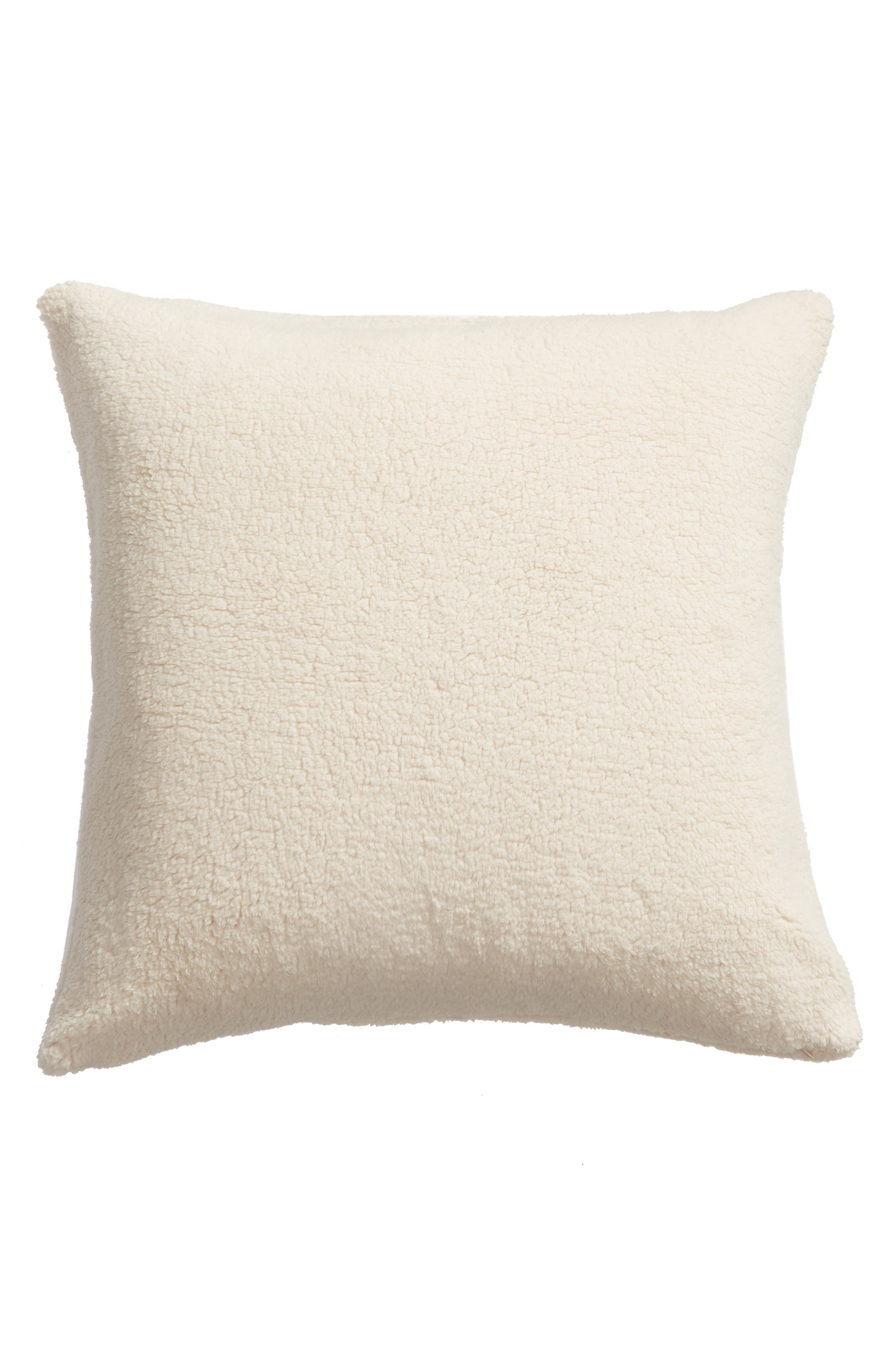 NORDSTROM AT HOME,                             Faux Shearling Accent Pillow,                             Alternate thumbnail 2, color,                             BEIGE OATMEAL
