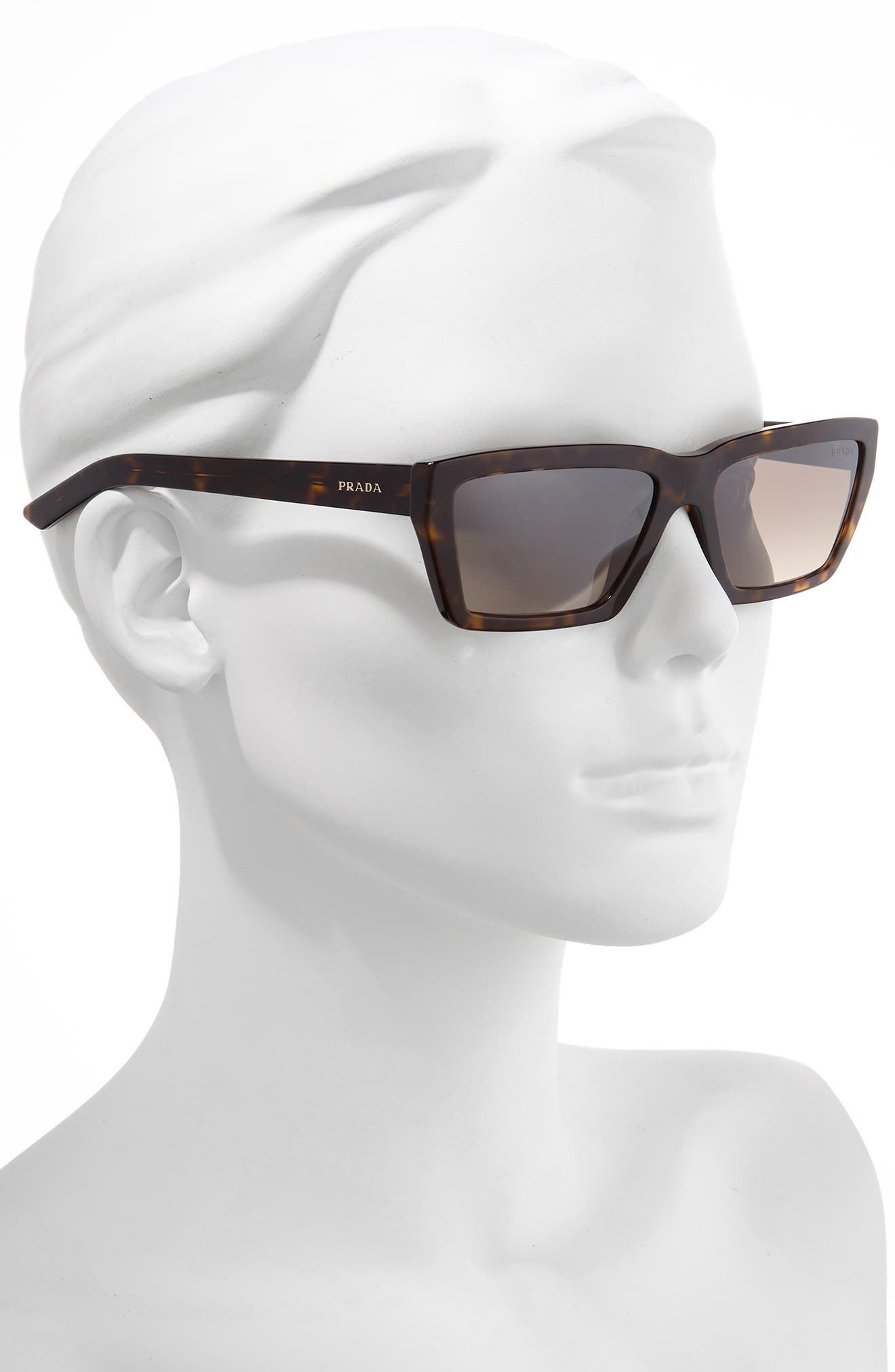 PRADA,                             Millennial 57mm Rectangle Sunglasses,                             Alternate thumbnail 2, color,                             HAVANA