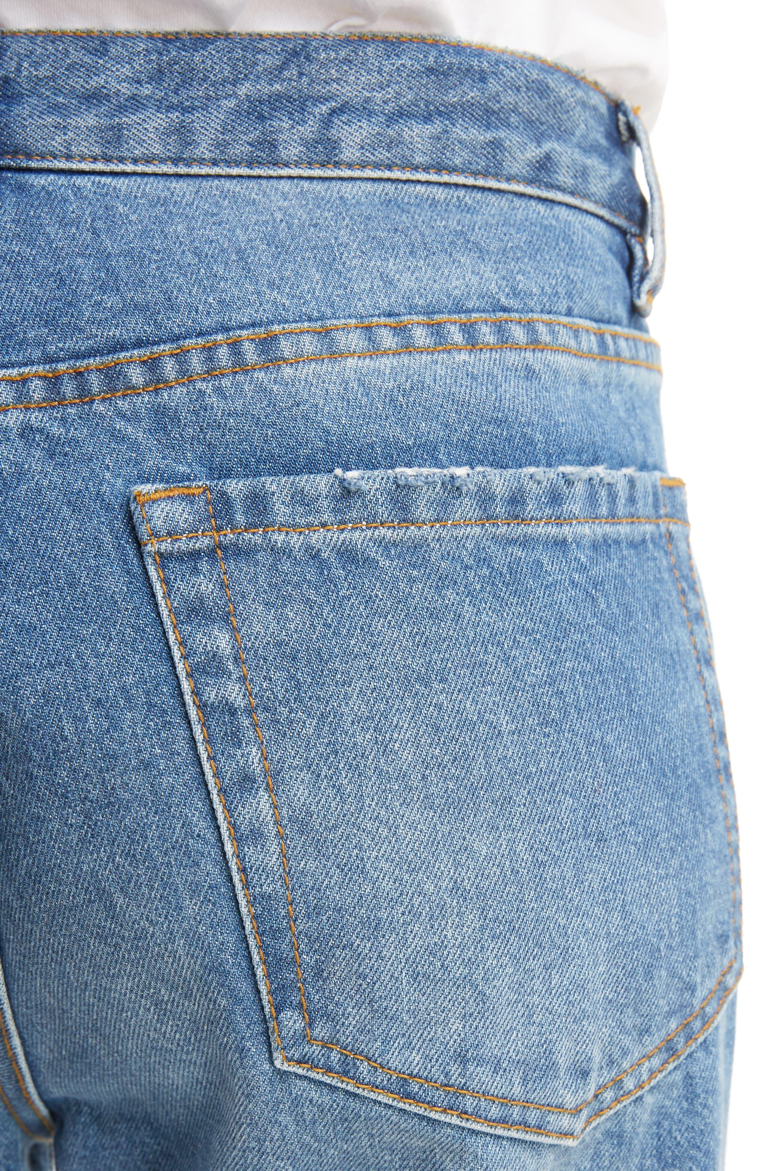 Cuffed Straight Leg Jeans,                             Alternate thumbnail 4, color,                             400