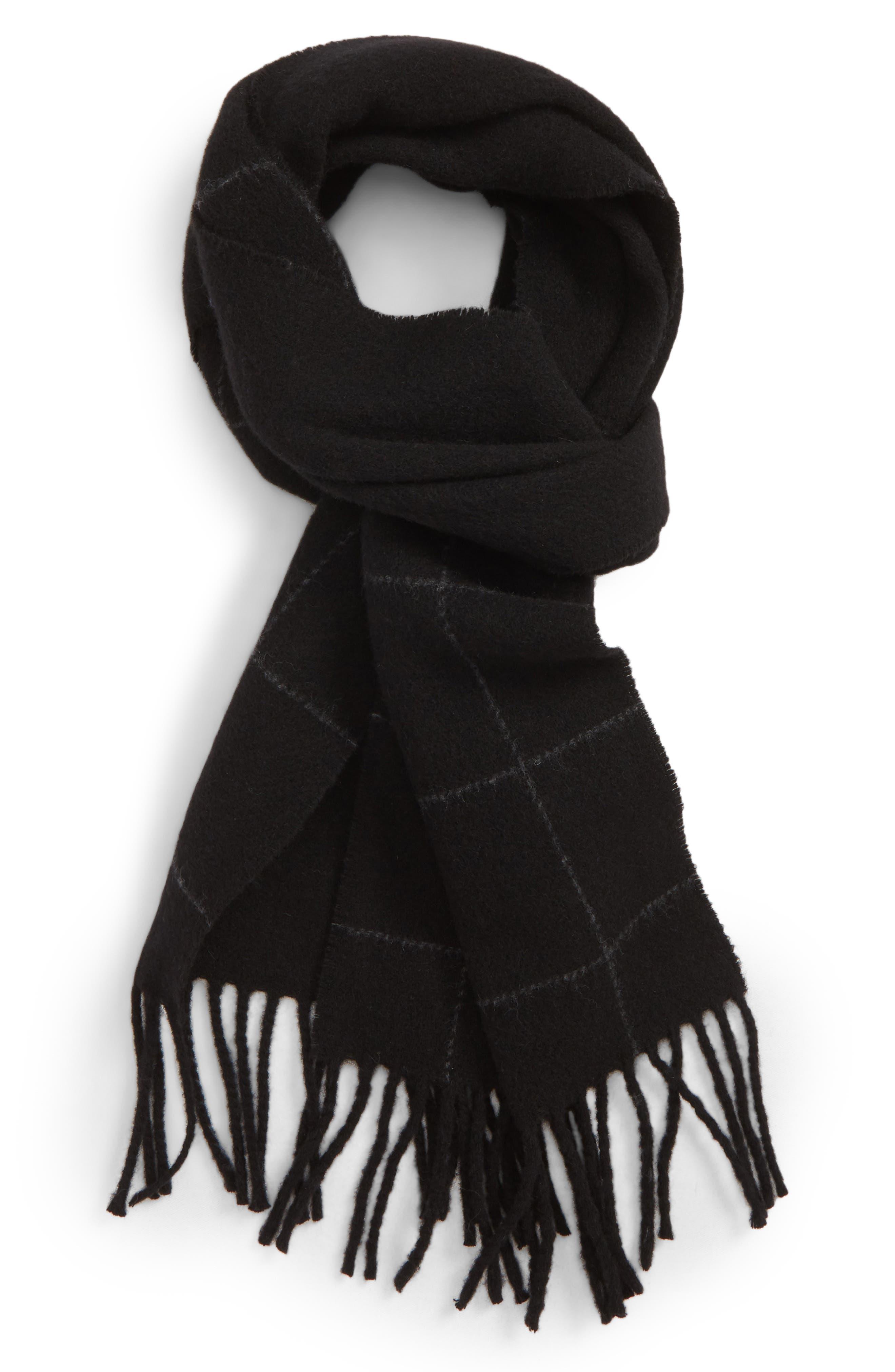 Reversible Windowpane Wool Blend Scarf,                             Main thumbnail 1, color,                             BLACK