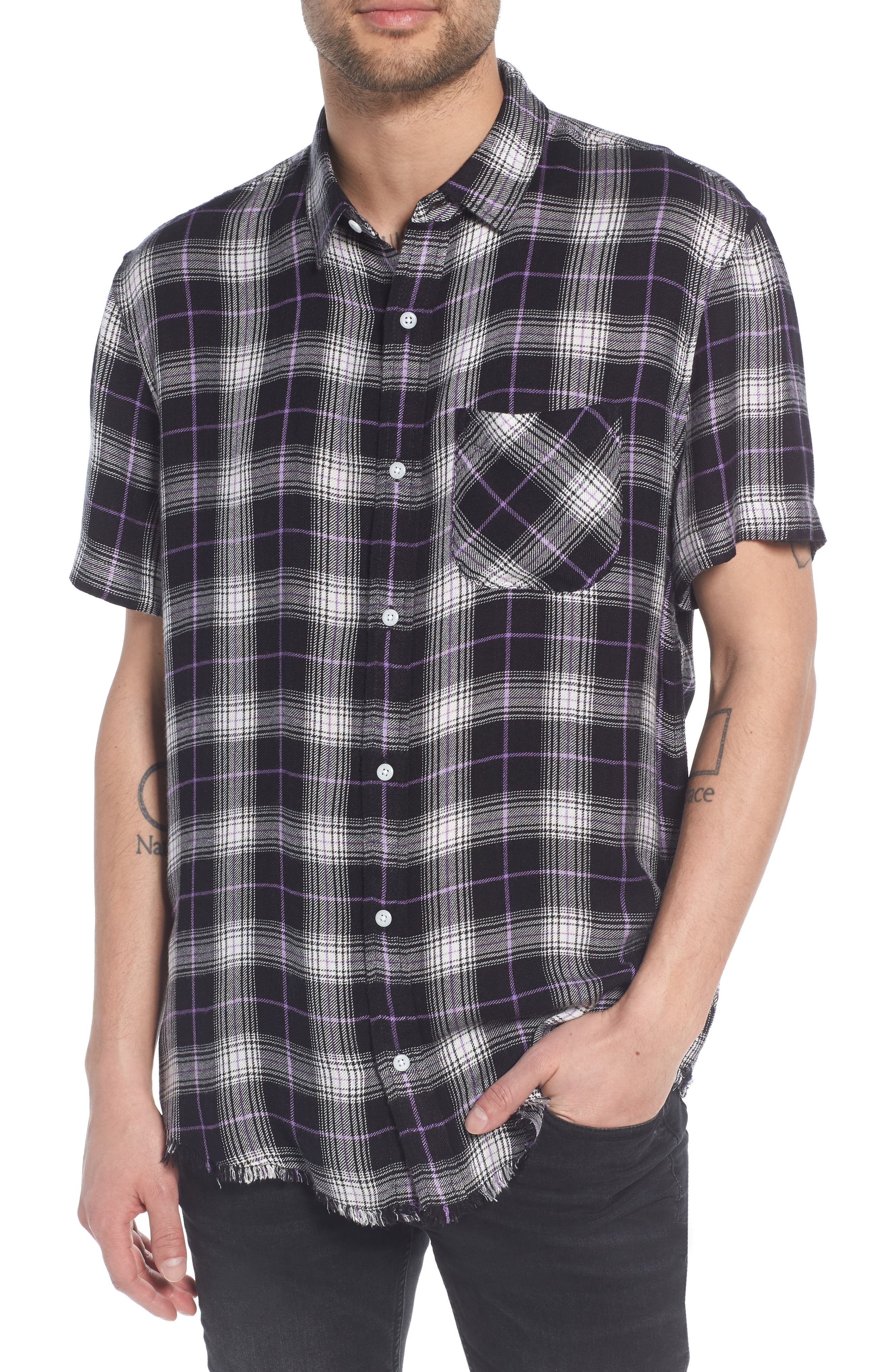 Drapey Plaid Short Sleeve Shirt,                             Main thumbnail 1, color,                             BLACK ROCK CODY PLAID