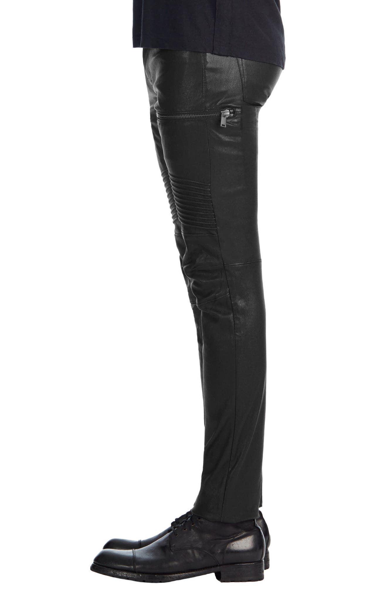 Acrux Skinny Fit Moto Leather Pants,                             Alternate thumbnail 3, color,                             001