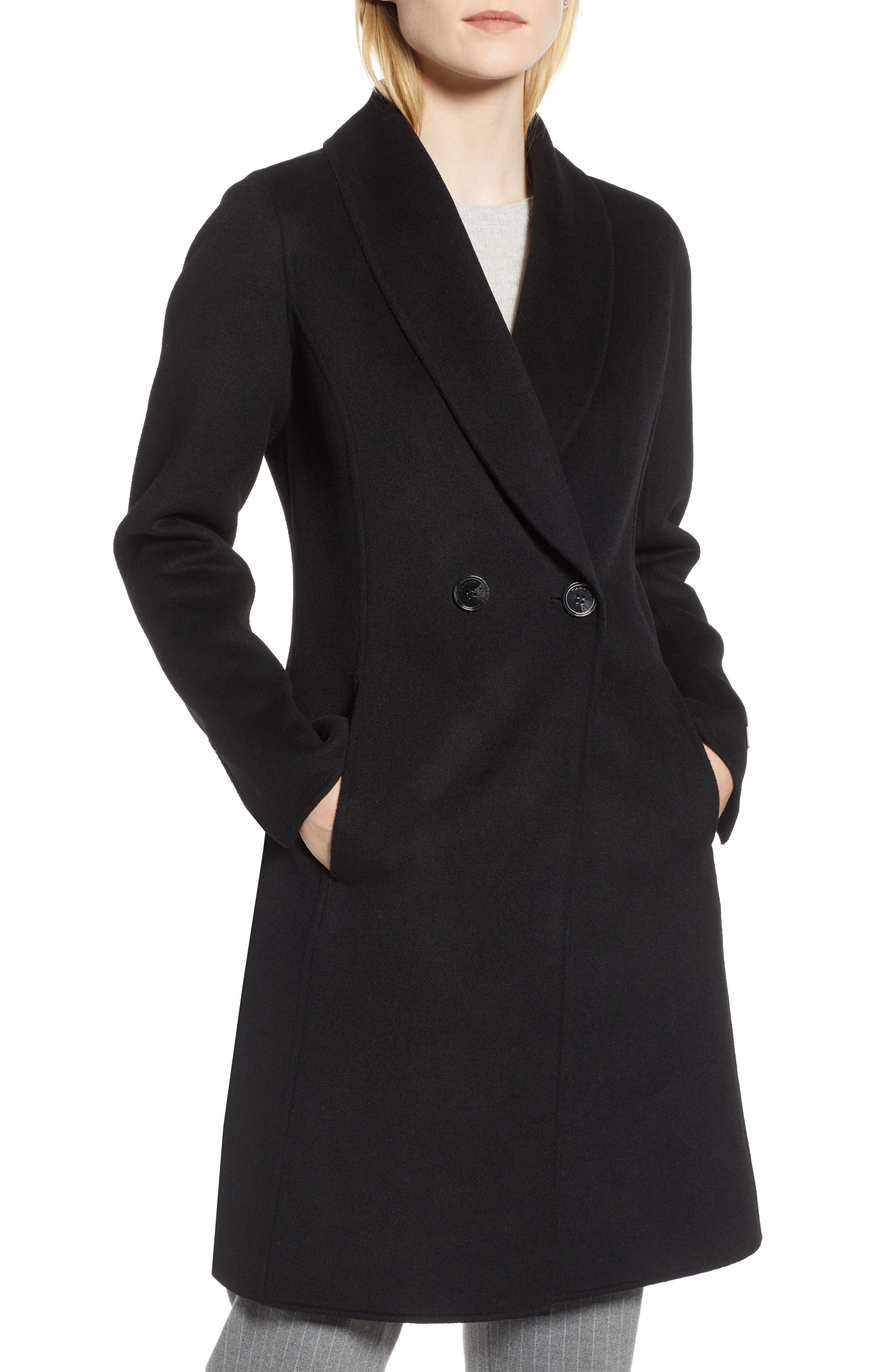 Caleigh Fitted Wool Blend Coat,                             Main thumbnail 1, color,                             BLACK
