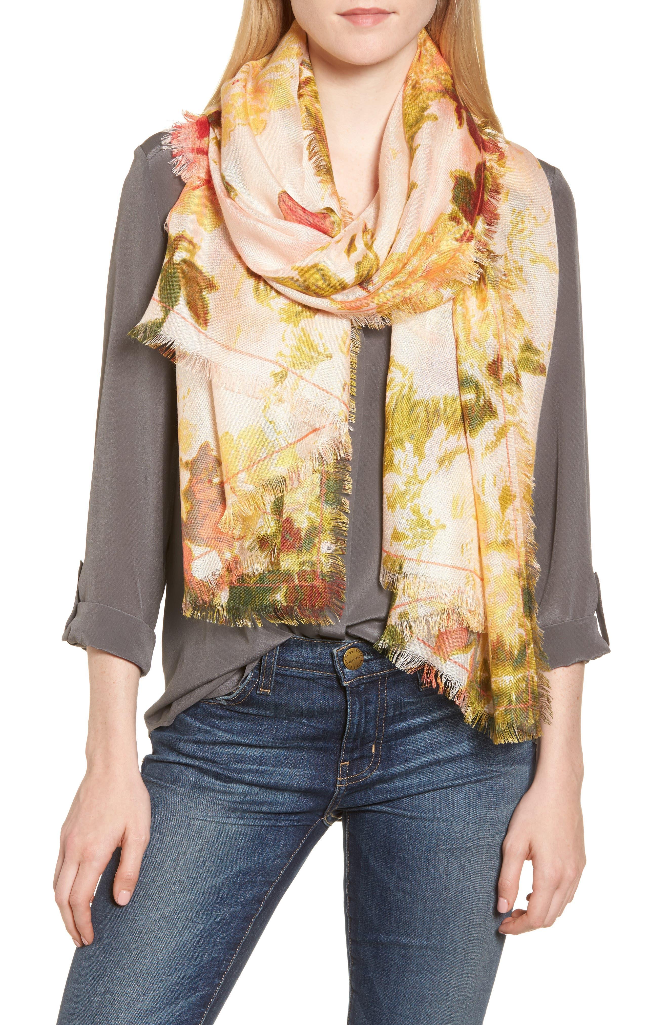 Eyelash Trim Print Cashmere & Silk Wrap,                             Main thumbnail 35, color,