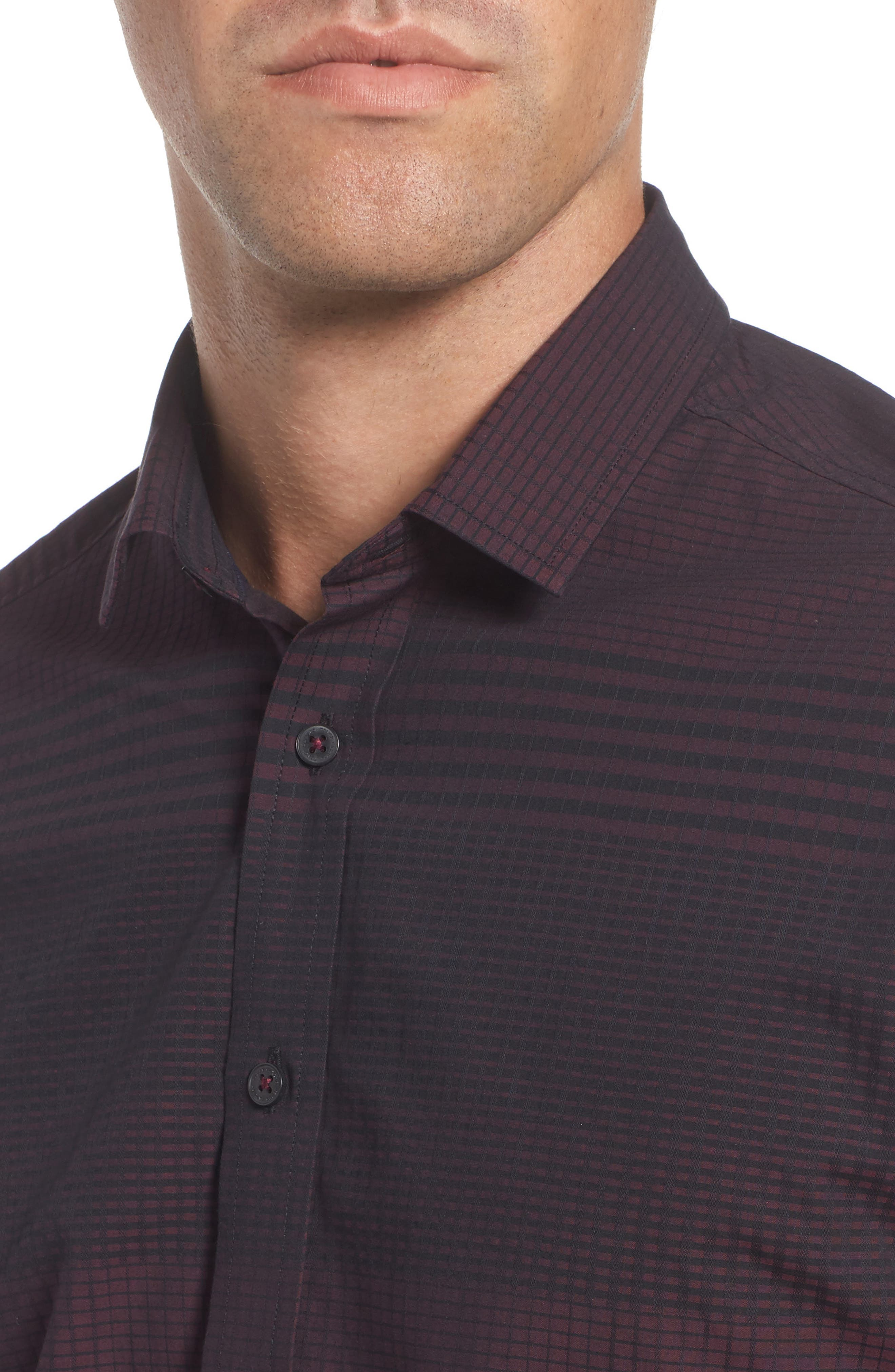 Slim Fit Check Plaid Sport Shirt,                             Alternate thumbnail 4, color,                             BURGUNDY/ BLACK CHECK PLAID