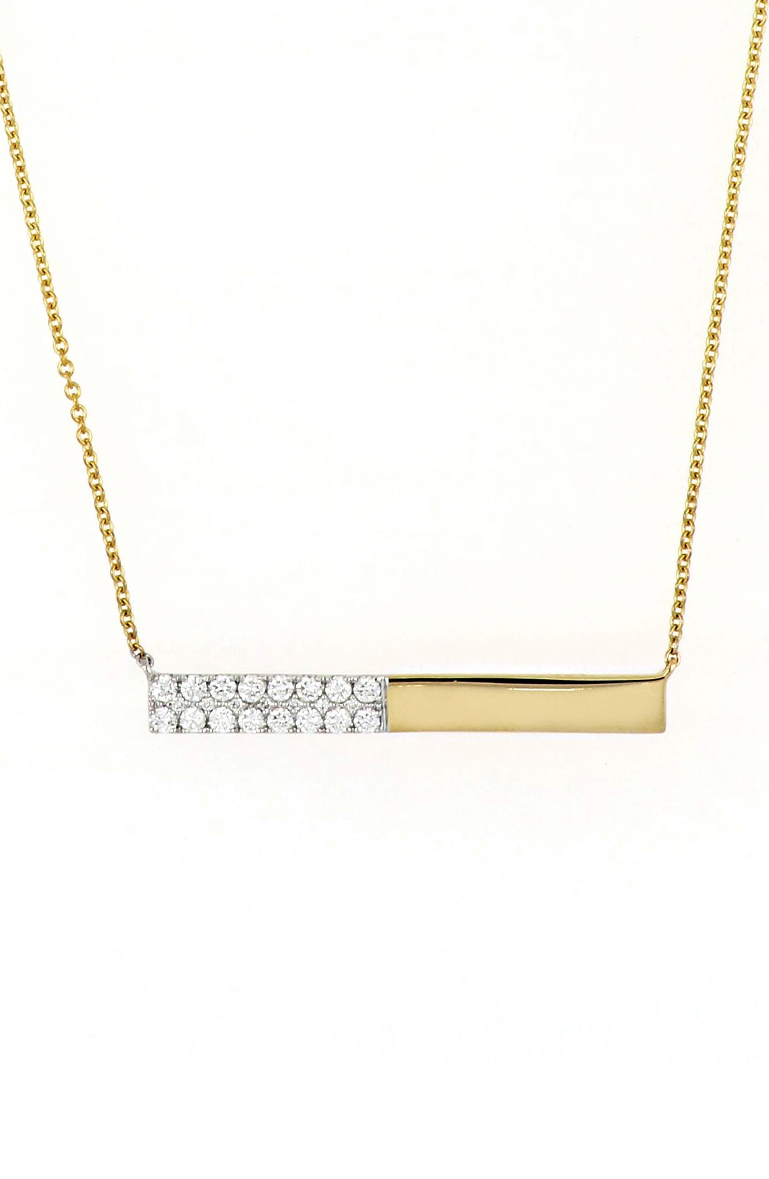 Kiera Diamond Bar Pendant Necklace,                             Main thumbnail 1, color,                             YELLOW GOLD/ WHITE GOLD