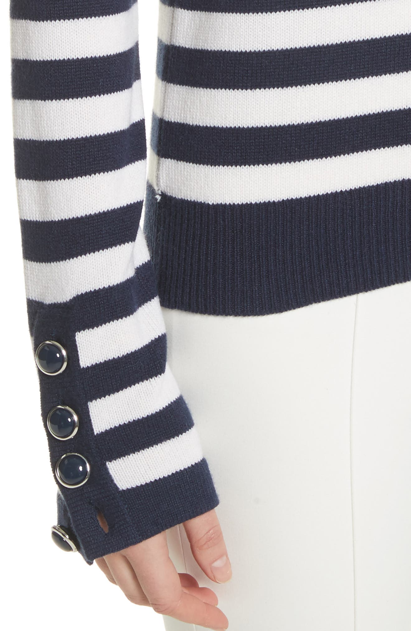 Button Cuff Cashmere Sweater,                             Alternate thumbnail 4, color,                             478