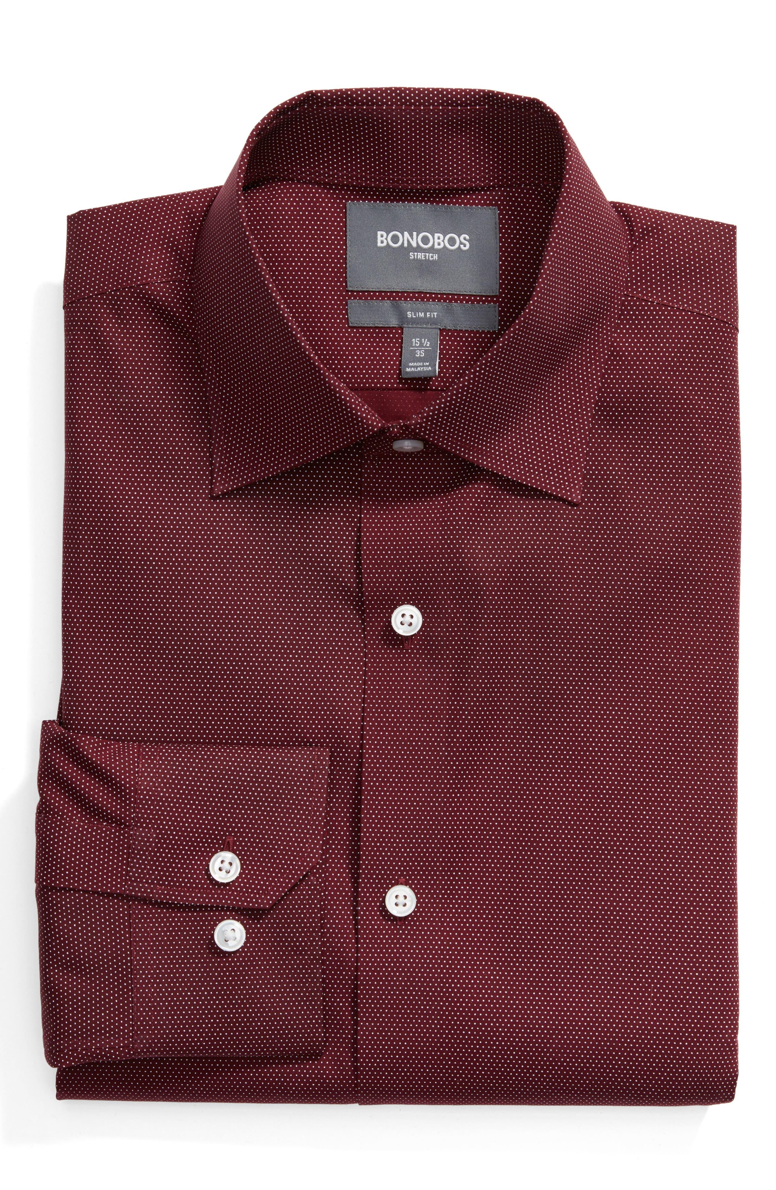 Slim Fit Dot Dress Shirt,                             Main thumbnail 1, color,                             600