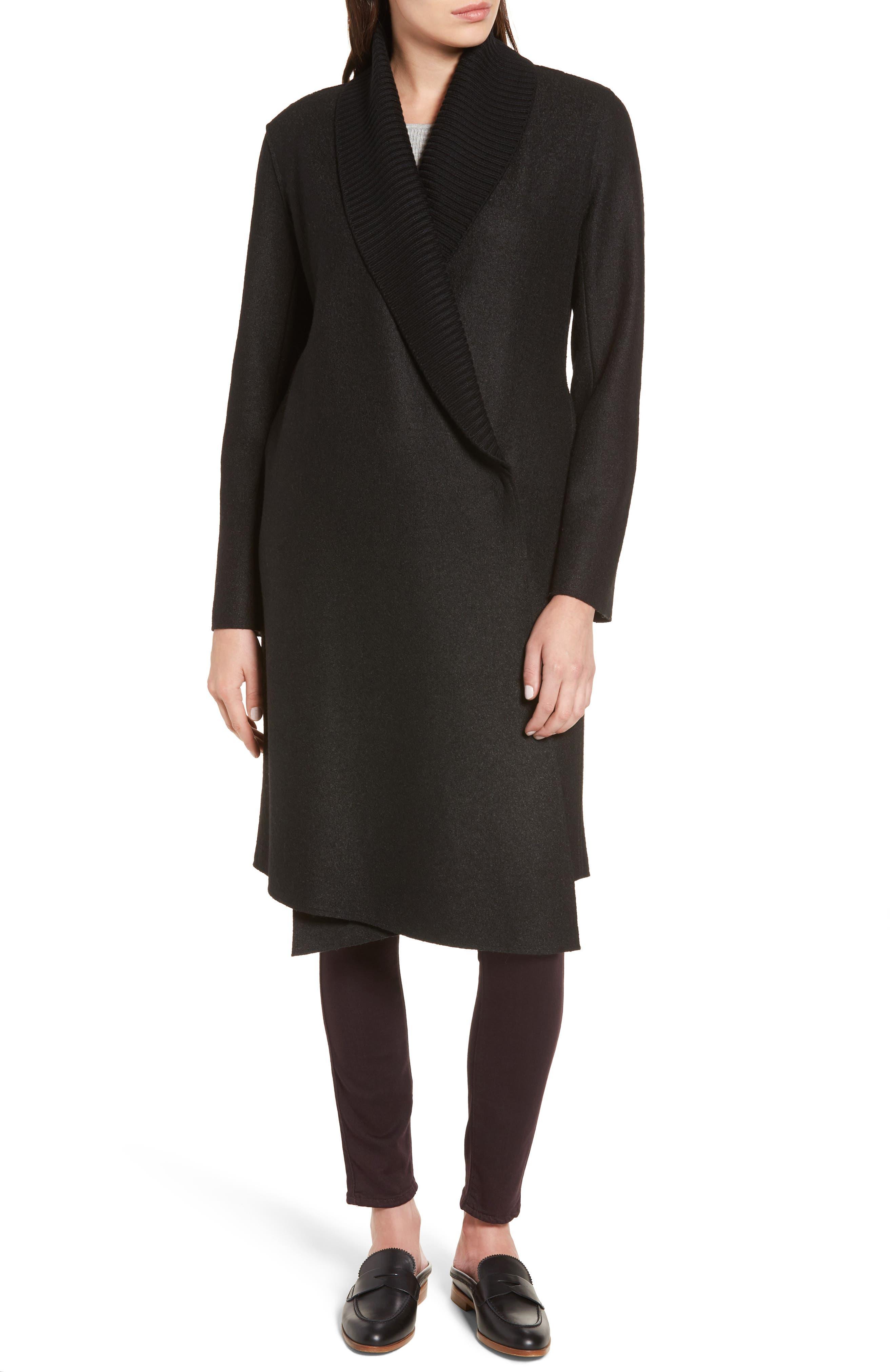 Emily Boiled Wool Blend Duster Coat,                             Alternate thumbnail 4, color,                             001