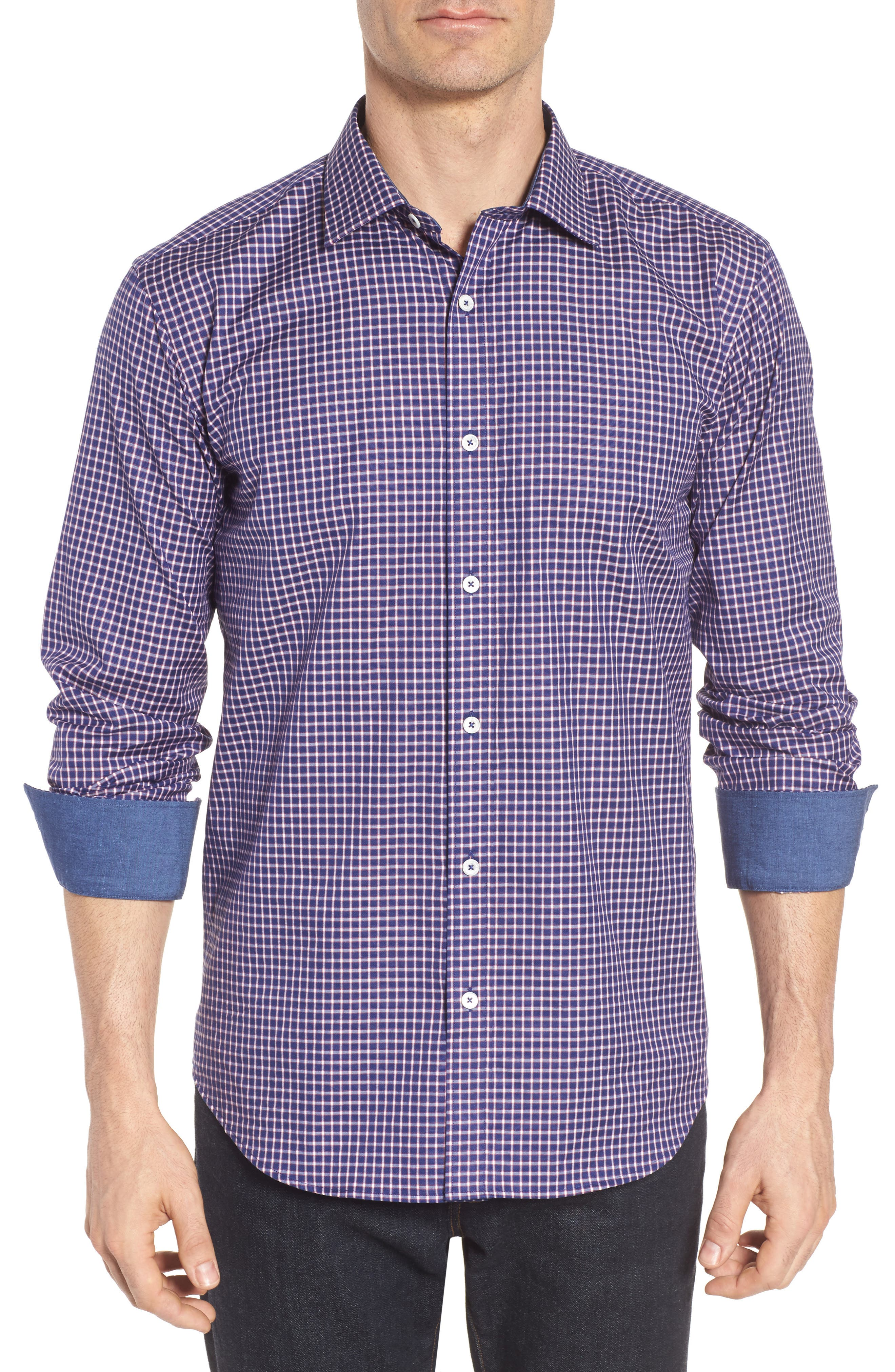 Shaped Fit Check Sport Shirt,                         Main,                         color, 411