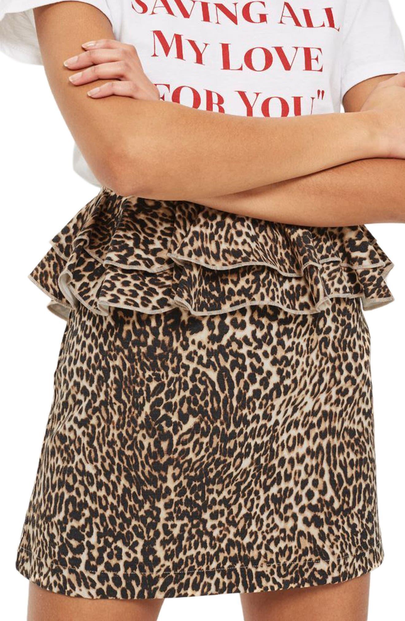 Leopard Print Ruffle Skirt,                             Main thumbnail 1, color,                             240