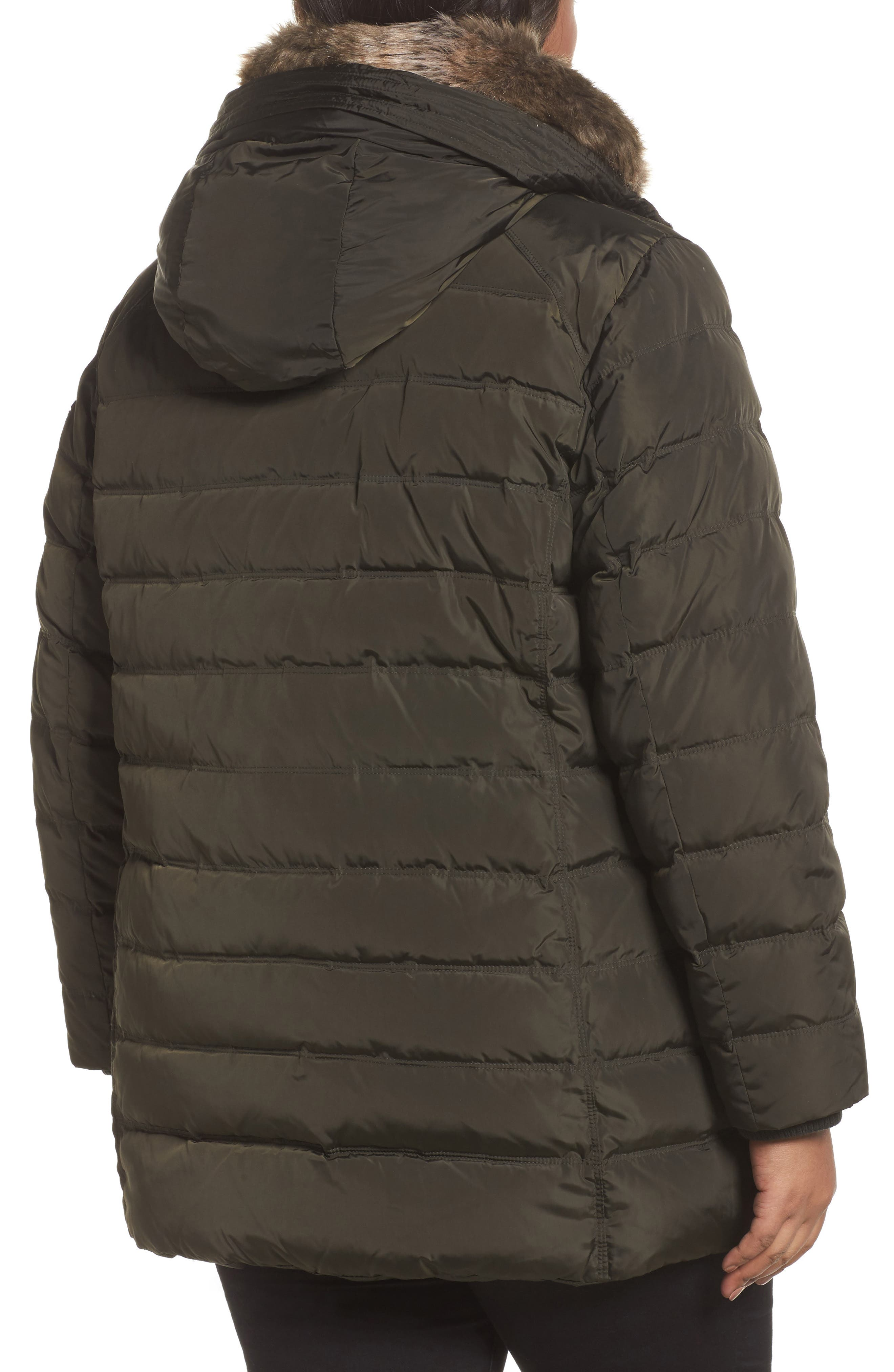 Down & Feather Hooded Coat with Faux Fur Trim,                             Alternate thumbnail 4, color,