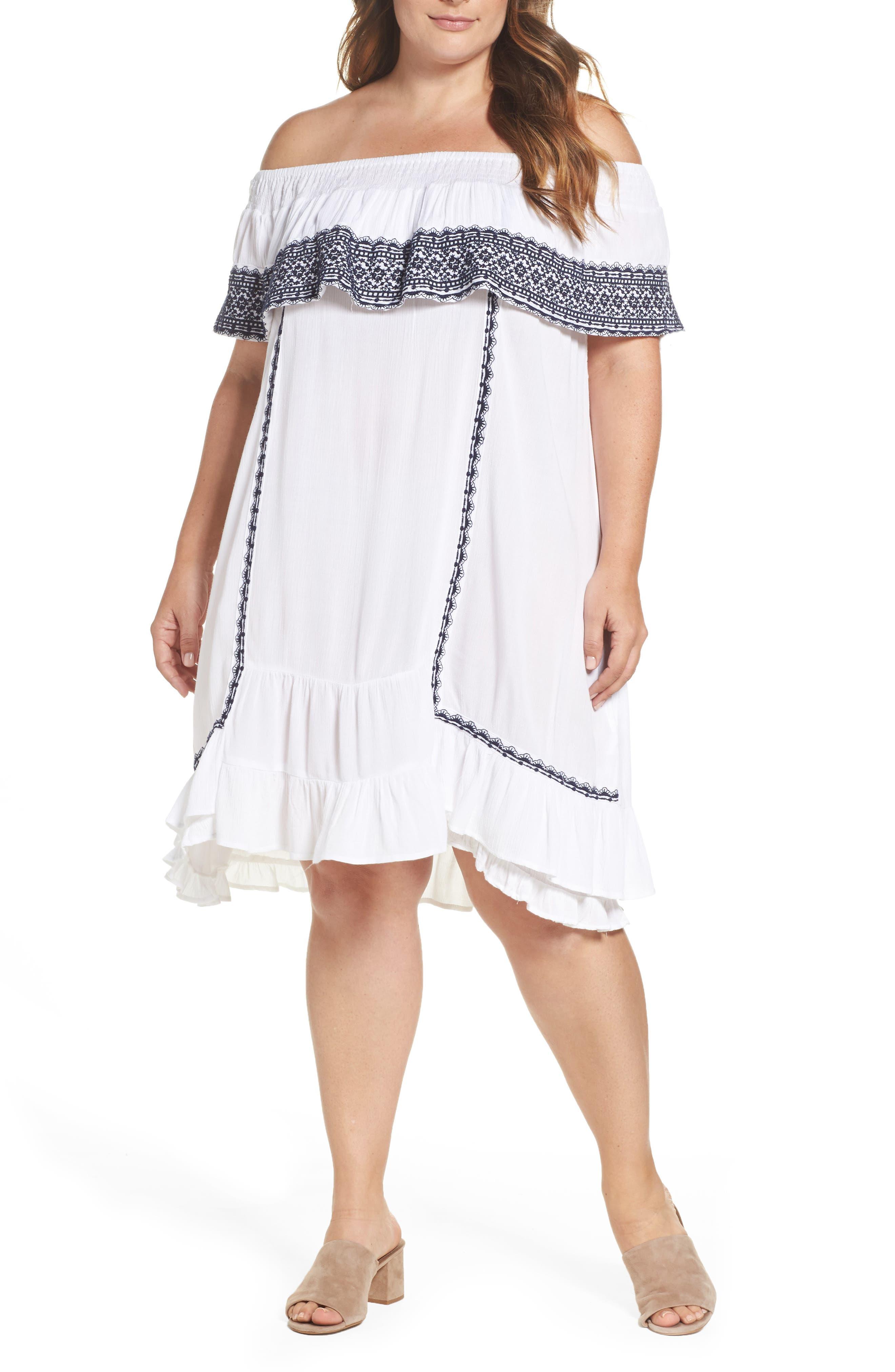 Gavin Ruffle Cover-Up Dress,                         Main,                         color, 100