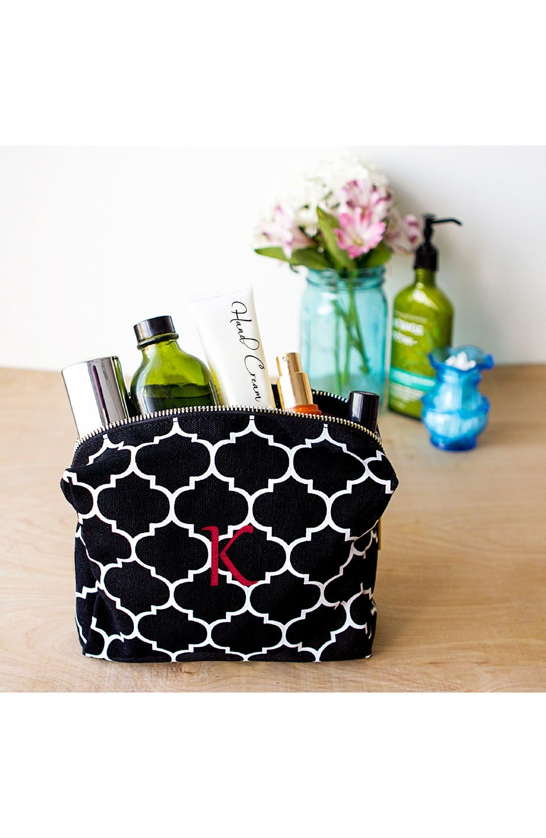 Monogram Cosmetics Bag,                             Alternate thumbnail 2, color,                             BLACK